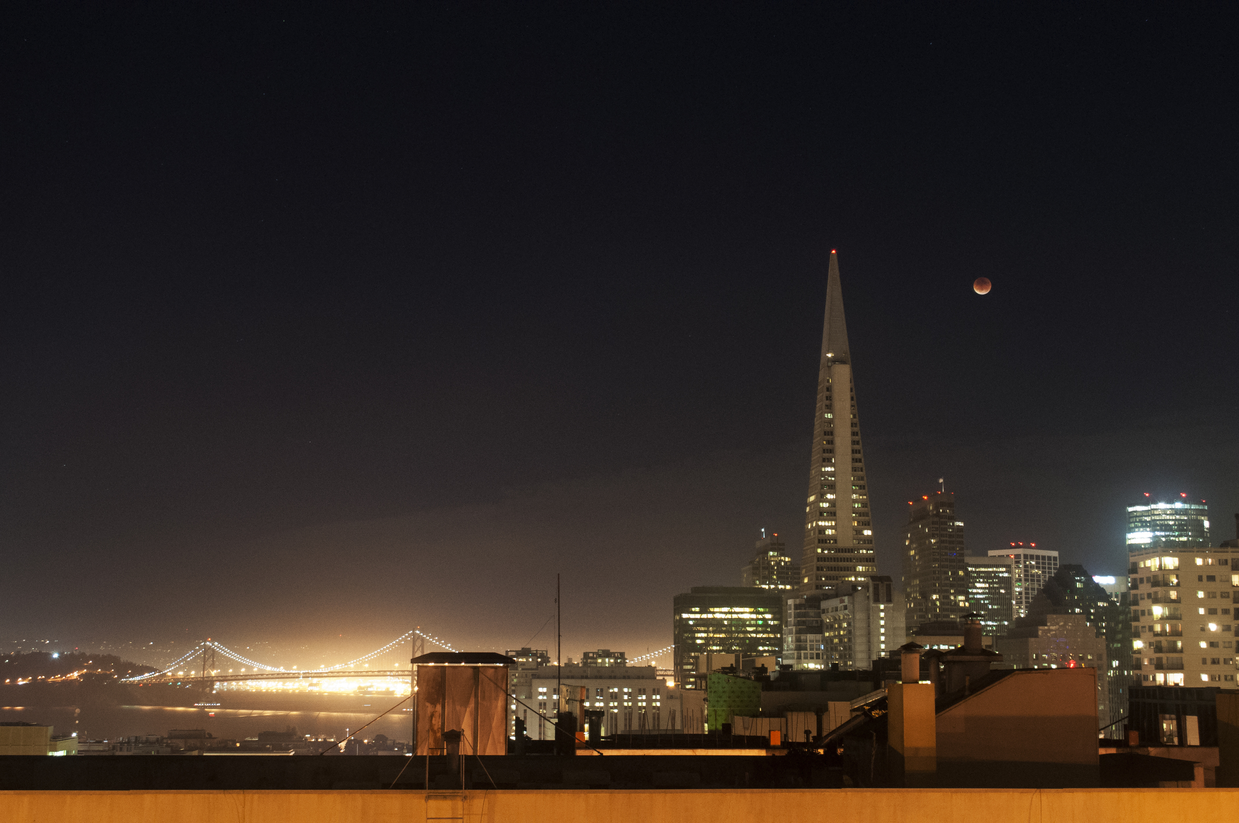 Blood Moon rising over Downtown San Francisco
