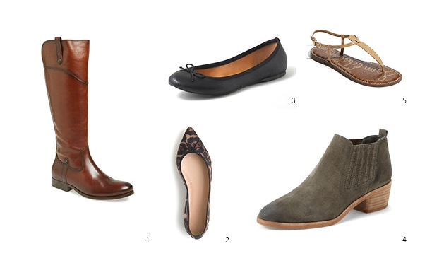 1. Frye 'Melissa' Boot, $417.95 , 2. JCrew 'Jemma' Flats, $145 , 3. JCrew Factory Classic Ballet Flat, $49.50 , 4. Dolce Vita 'Kadie' Bootie, $129.95 , 5. Sam Edelman 'Gigi' Sandal, $69.95