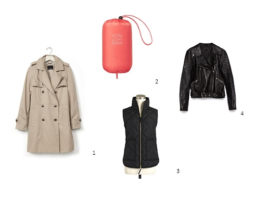 1.  Banana Republic Double-Breasted Trench, $125 , 2. Uniqlo Ultra Light Down Jacket, $79.90 , 3. JCrew Factory Quilted Puffer Vest  , $68.50 , 4. Zara Leather Jacket, $189