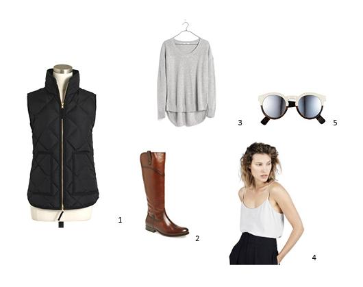 1.  JCrew Factory Quilted Puffer Vest  , $68.50 ;2. Frye 'Melissa' Boot, $417.95 ;3.  Madewell Chronicle Texture Pullover Sweater ; $74.50;4.  Everlane Silk Camisole,$55 ; 5. Illesteva Half Half Silver Mirrored 'Leonard II' Sunglasses, $290