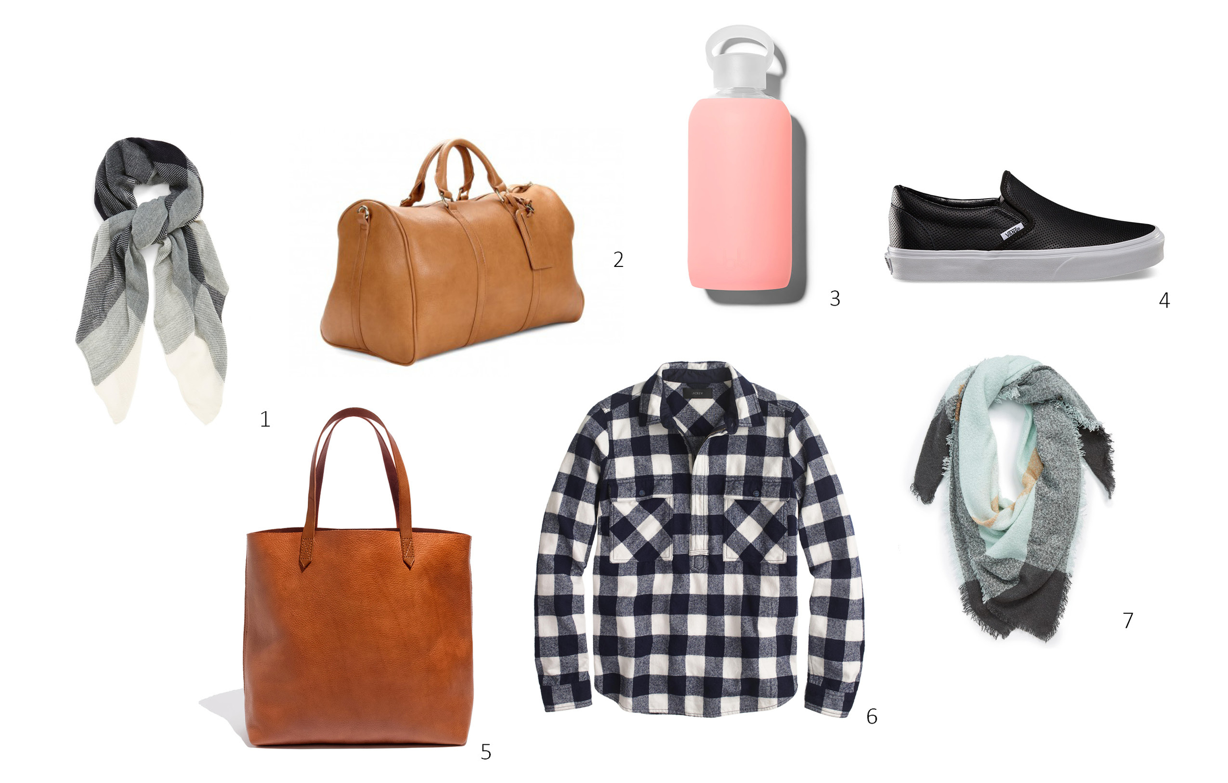 1.  BP Plaid Scarf $24 ; 2.  Sole Society Cassidy Vegan Leather Weekender $69.95 ; 3.  bkr 1 L water bottle $45 ; 4.  Vans Perforated Leather Slip-On $60 ; 5.  Madewell Transport Tote $168 ; 6.  J.Crew Buffalo Check Shirt-Jacket $118 ; 7.  David & Young Square Blanket Scarf $28