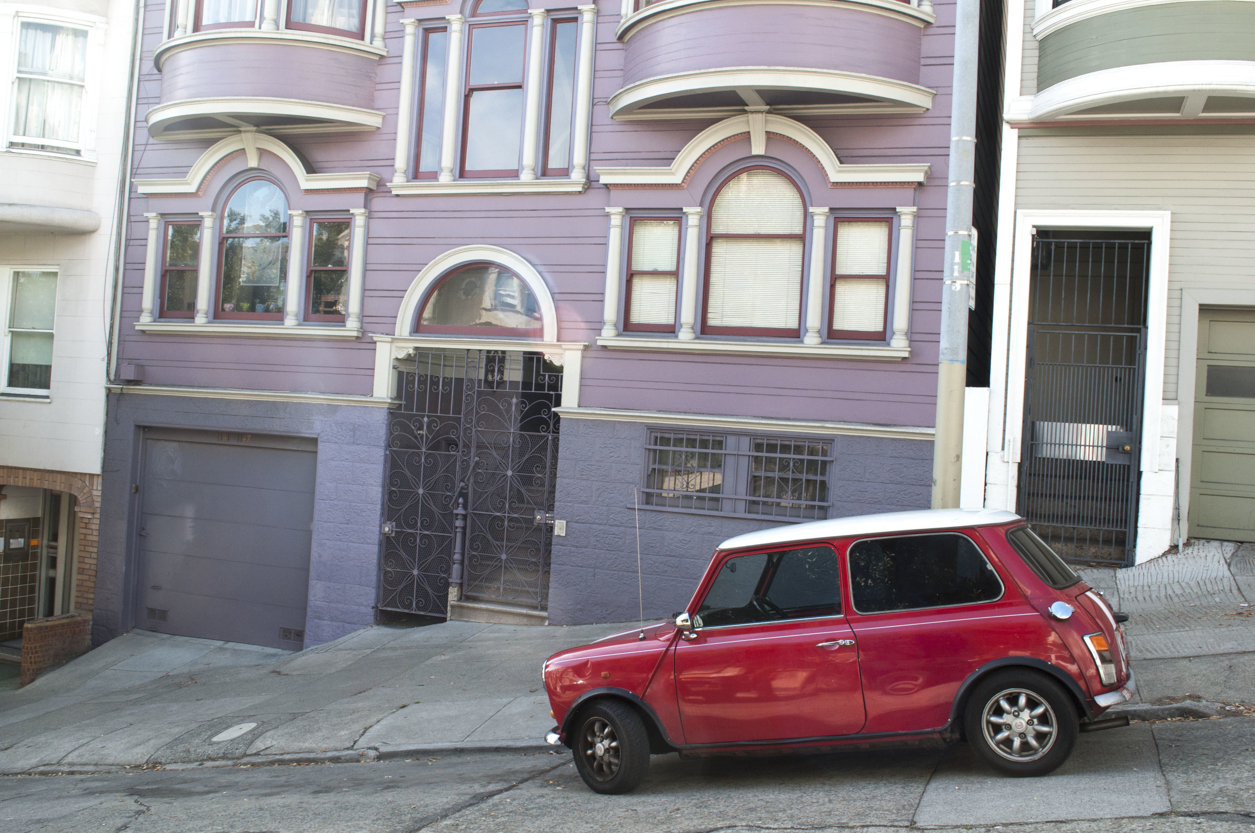 Little Red Mini and Mauve House
