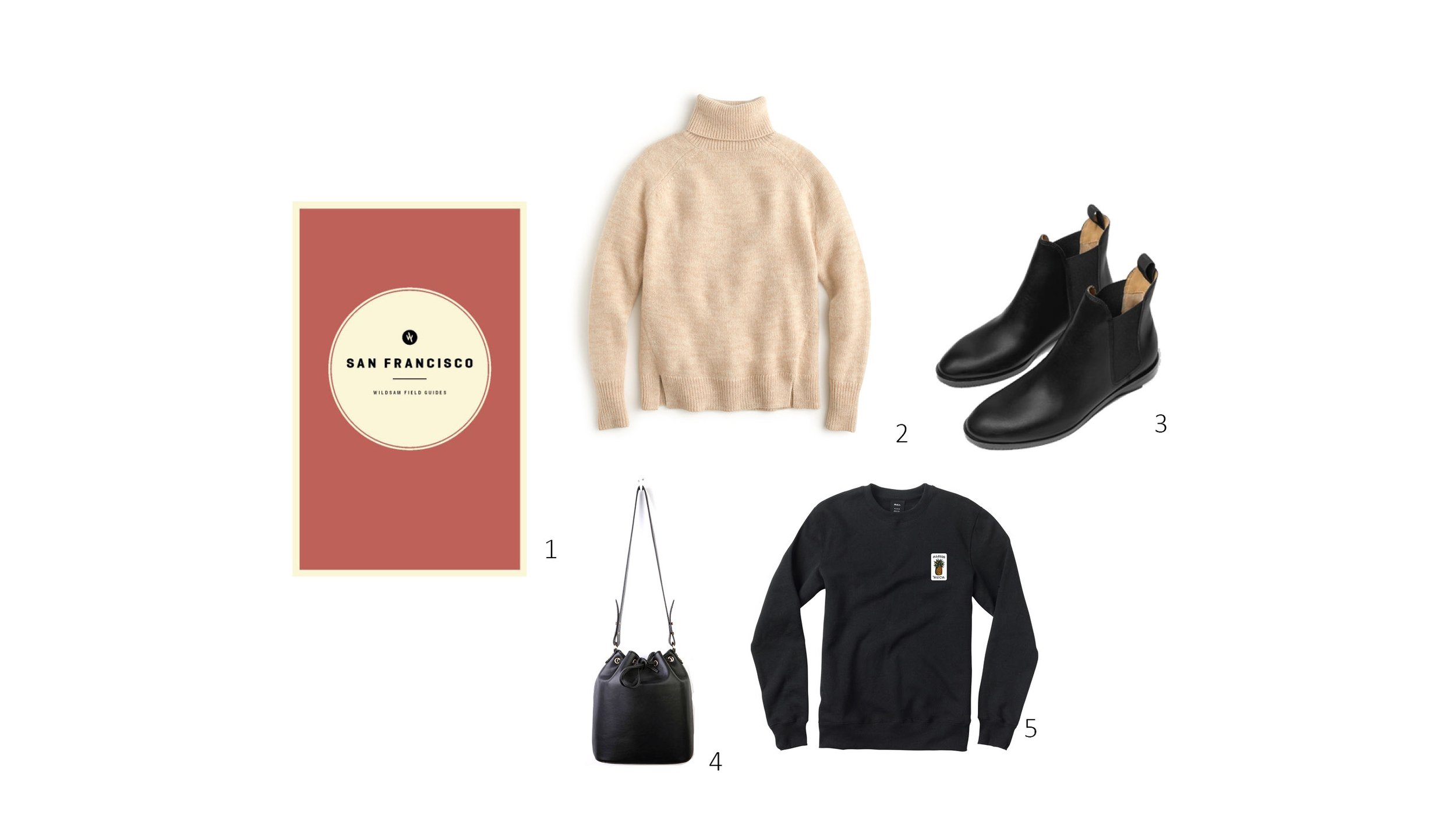 January Edit 1.  Wildsam San Francisco  $18, 2.  JCrew Turtleneck Sweater  $48, 3.  Everlane Chelsea Boots  $235, 4.  Urban Outfitters Cooperative Structured Bucket Bag  $44, 5.  RVCA Archy Fleece  $68