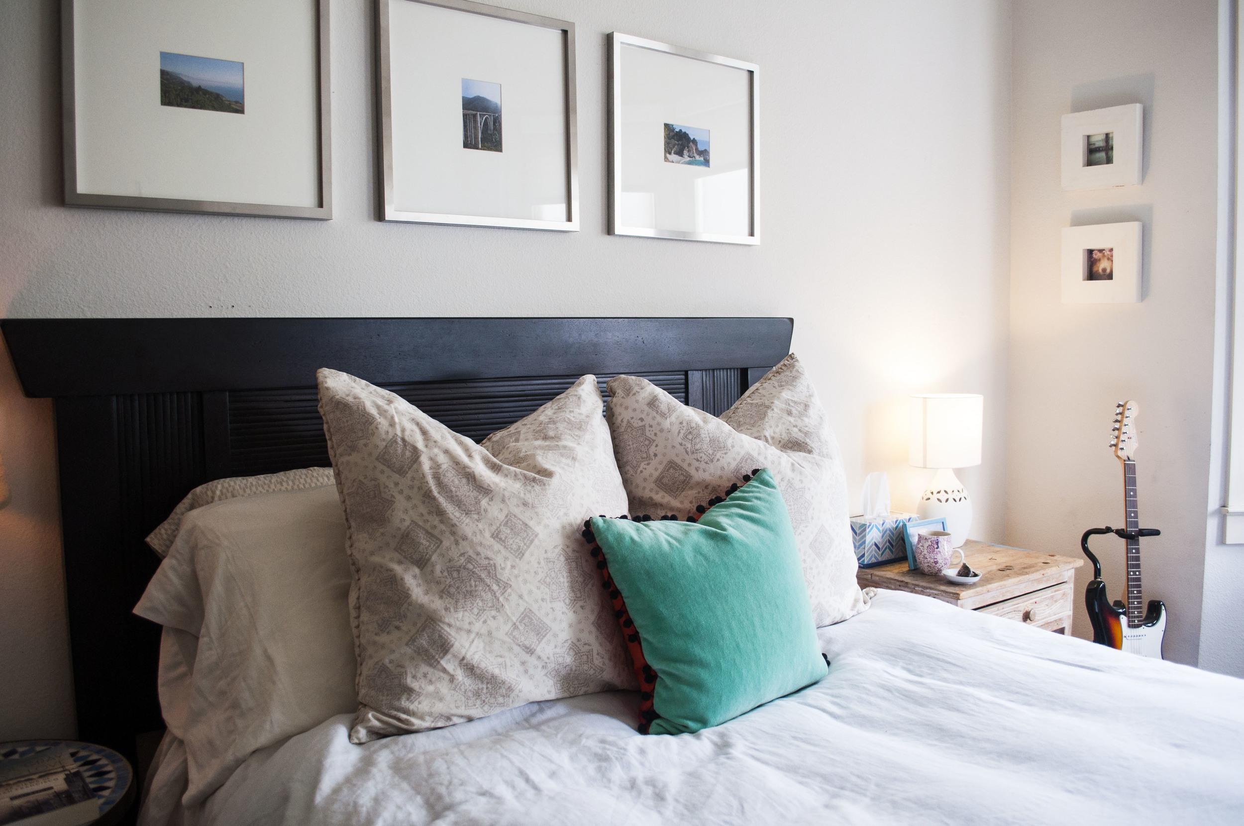 white bed boho living