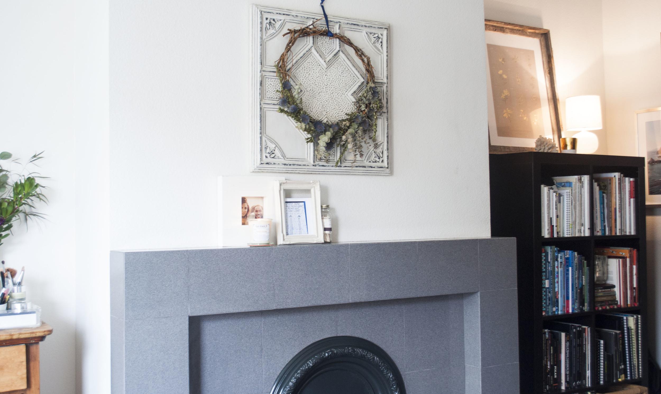 fireplace boho wreath hippie style