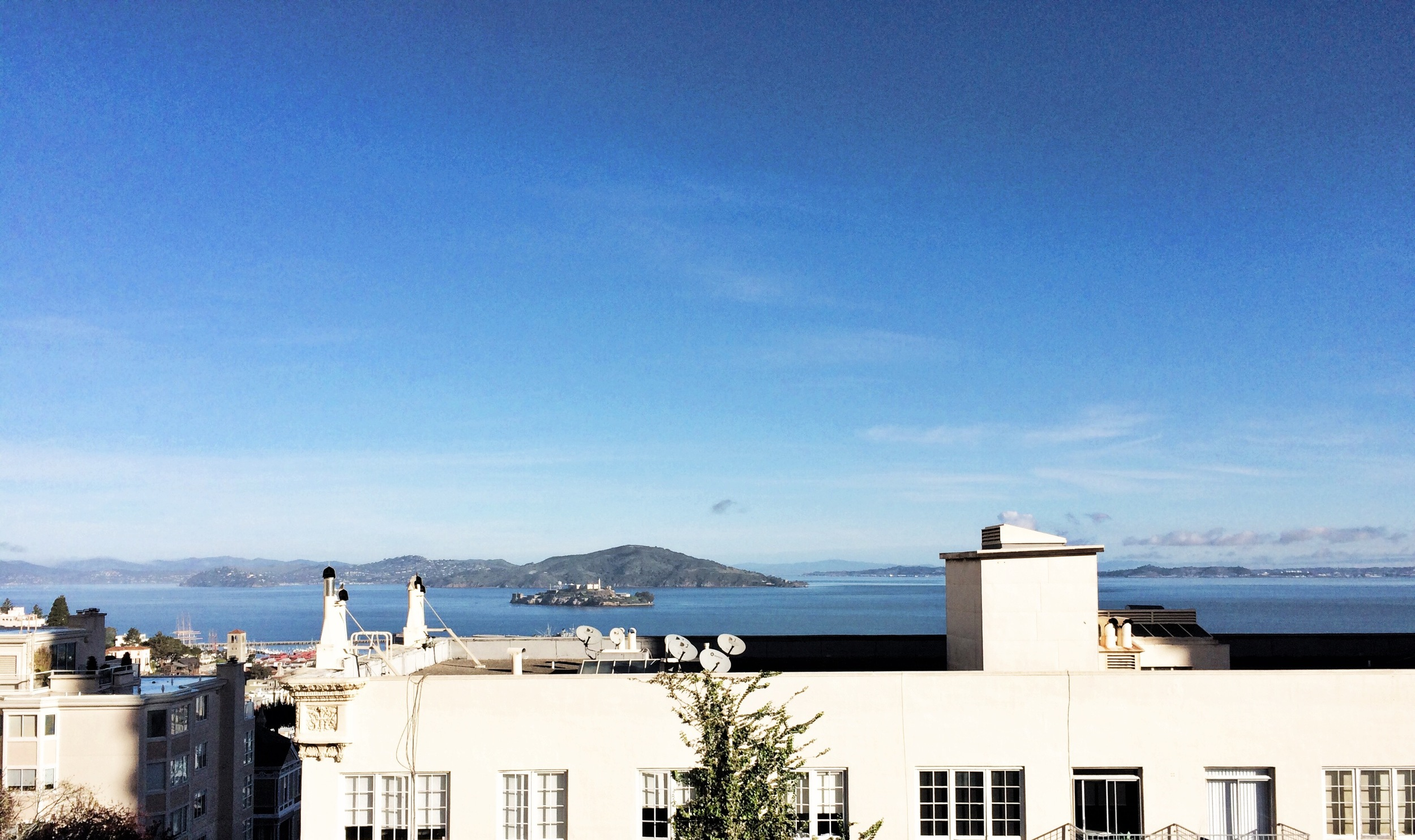 blue sky white city