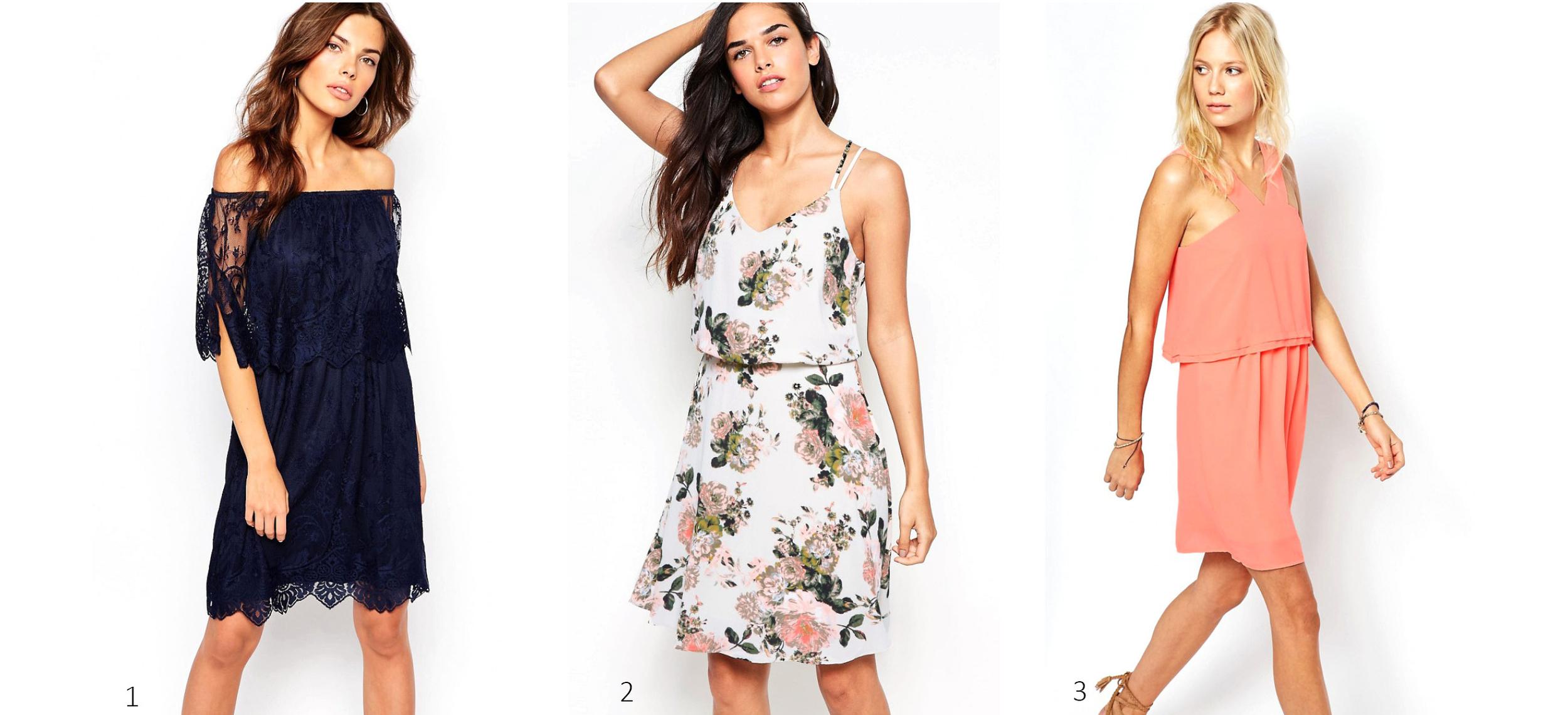 1. ASOS Vila Lace Bardot Double Layer Dress $52 ; 2. ASOS Vila Floral Cami Dress $62 ; 3. ASOS Vila Dress with Ruffle Detail $52