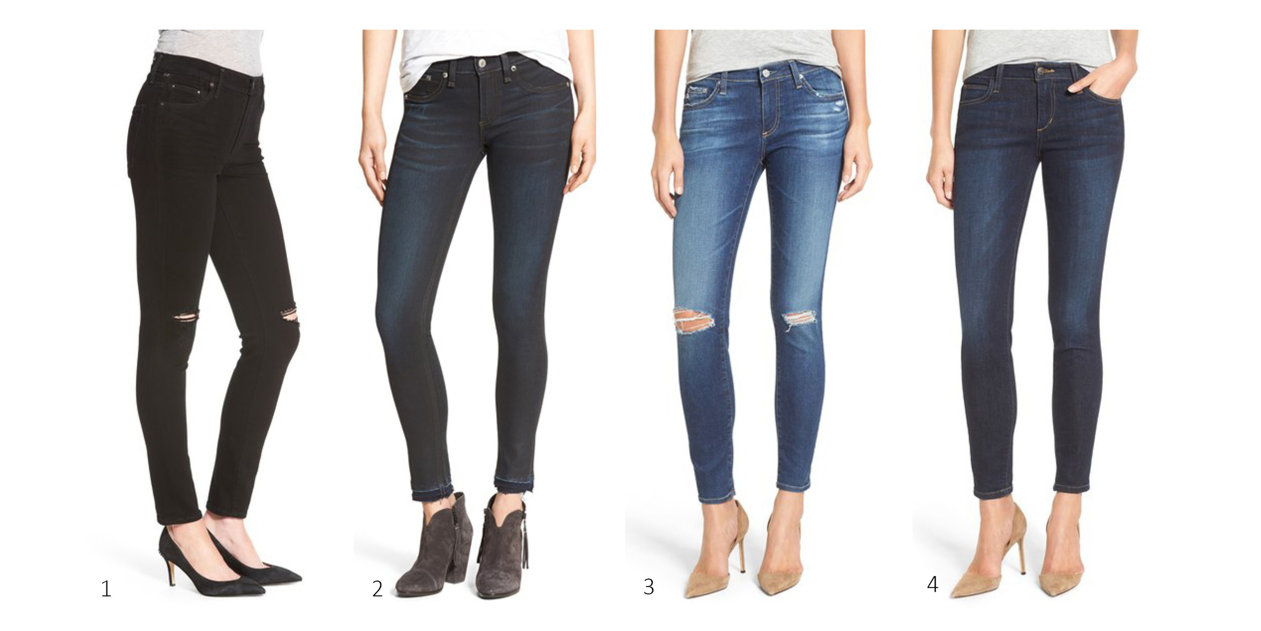 1.  Citizens of Humanity 'Rocket' Distressed Skinny Jeans $138 ;2. rag & bone The Skinny $165;3. AG 'The Legging' Ankle Jeans (10 years recreation)$163.90 ; 4.  Joe's Skinny Ankle Jeans $99