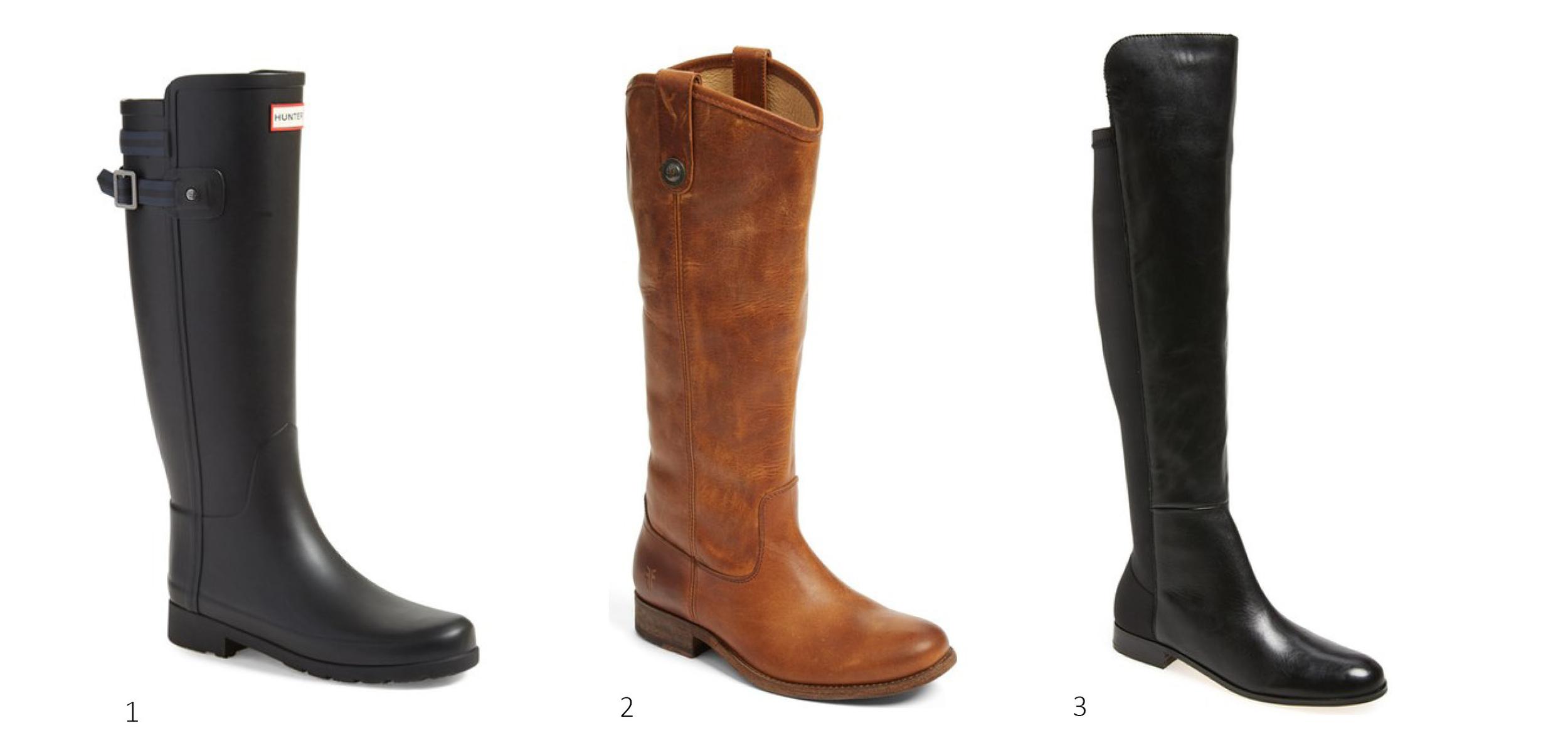 1. Hunter 'Original Refined' Rain Boot $129.90 ; 2.  Frye Melissa Button Riding Boot $246 ; 3.  Corso Como Laura Over the Knee boot $150