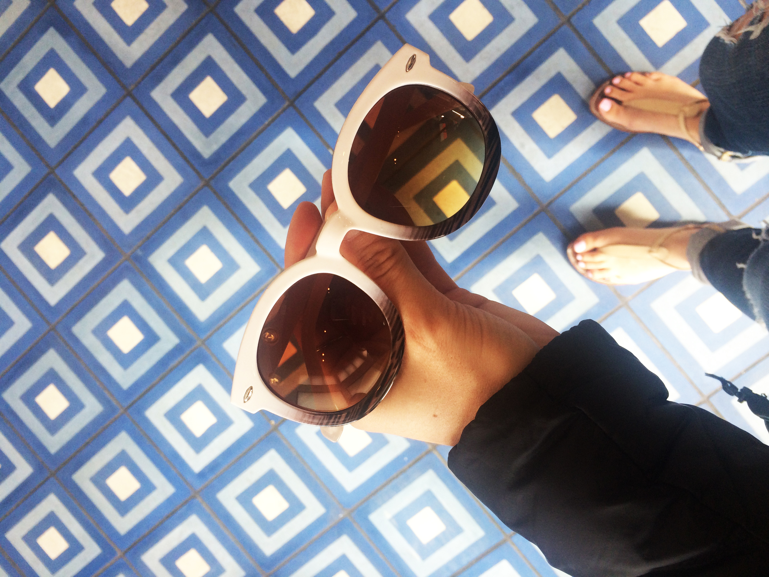Beautiful tile at Belcampo and some cute new sunnies I picked up at Picnic on Polk!
