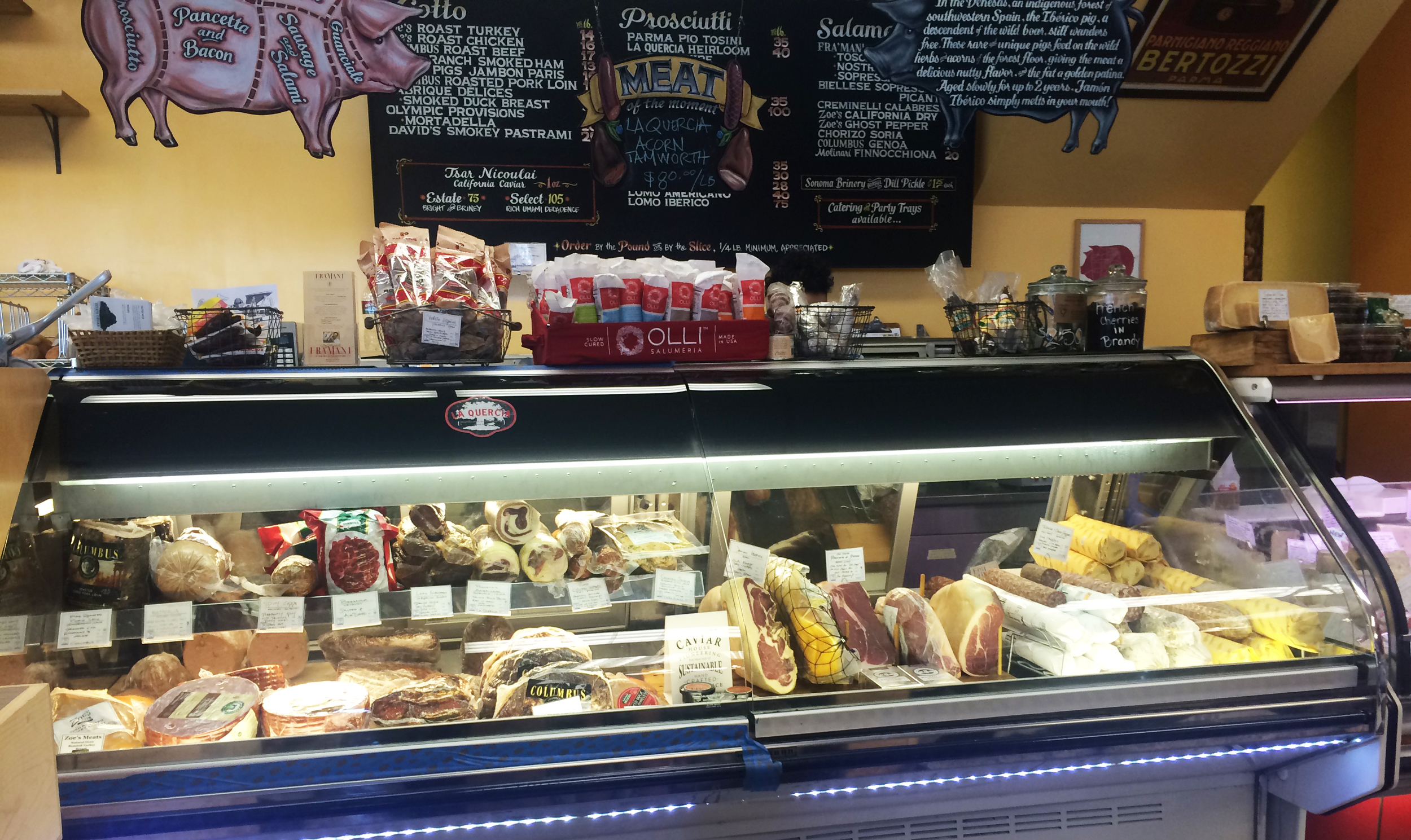 The meat counter in Cheese Plus