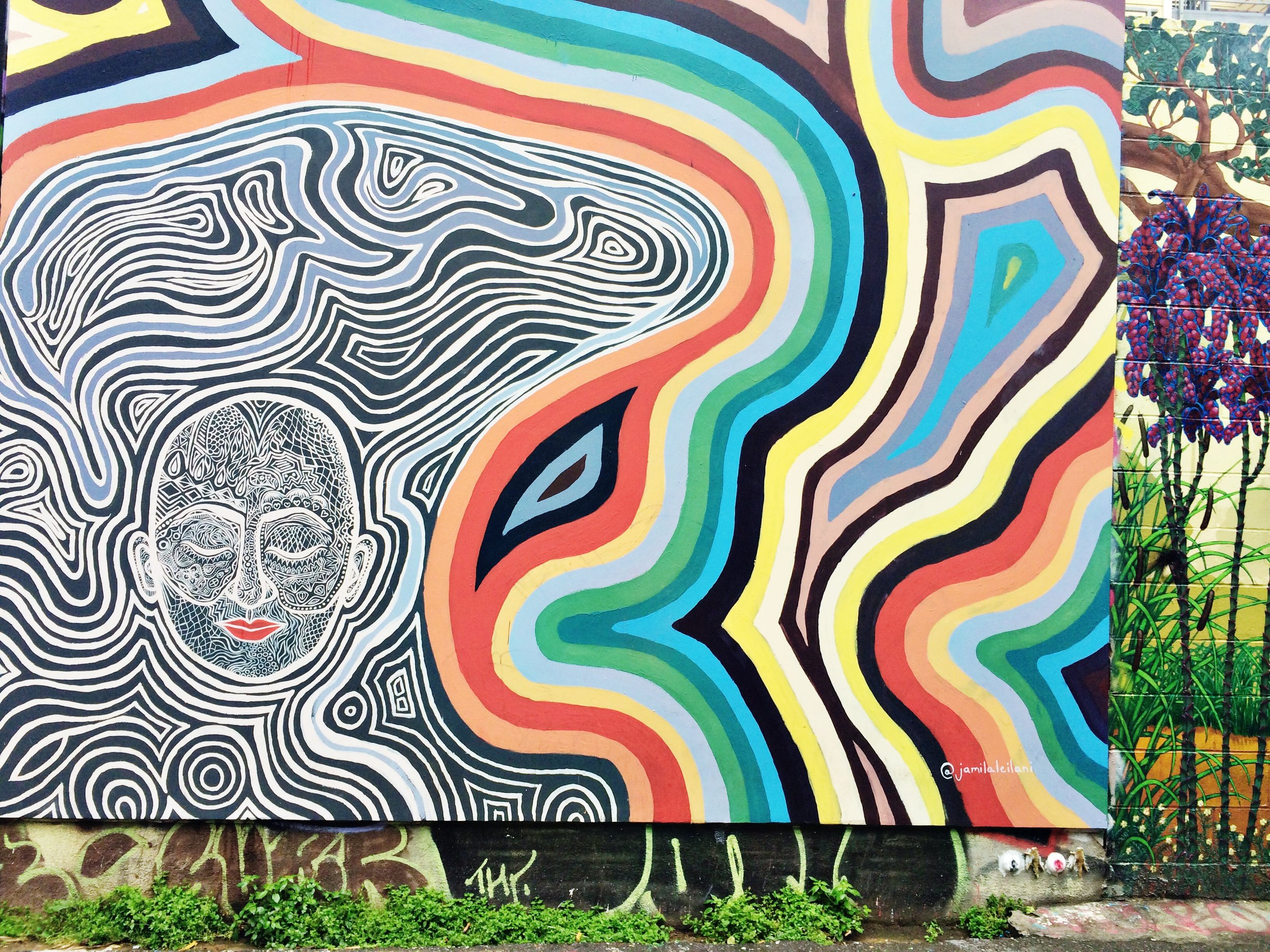 Rainbow Abstract Street Art Mission District SF