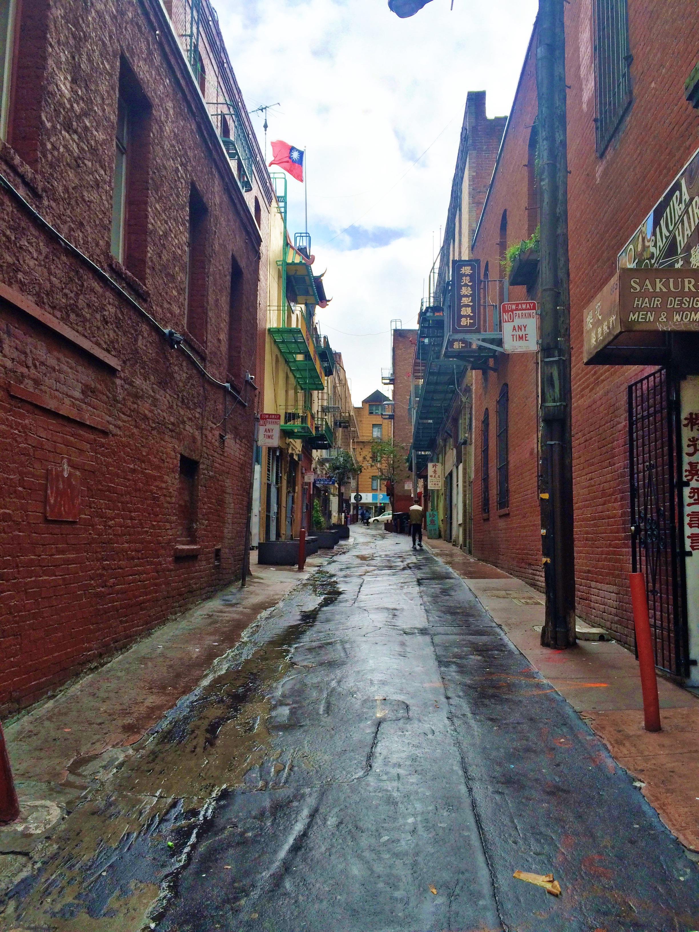 rainy chinatown alley