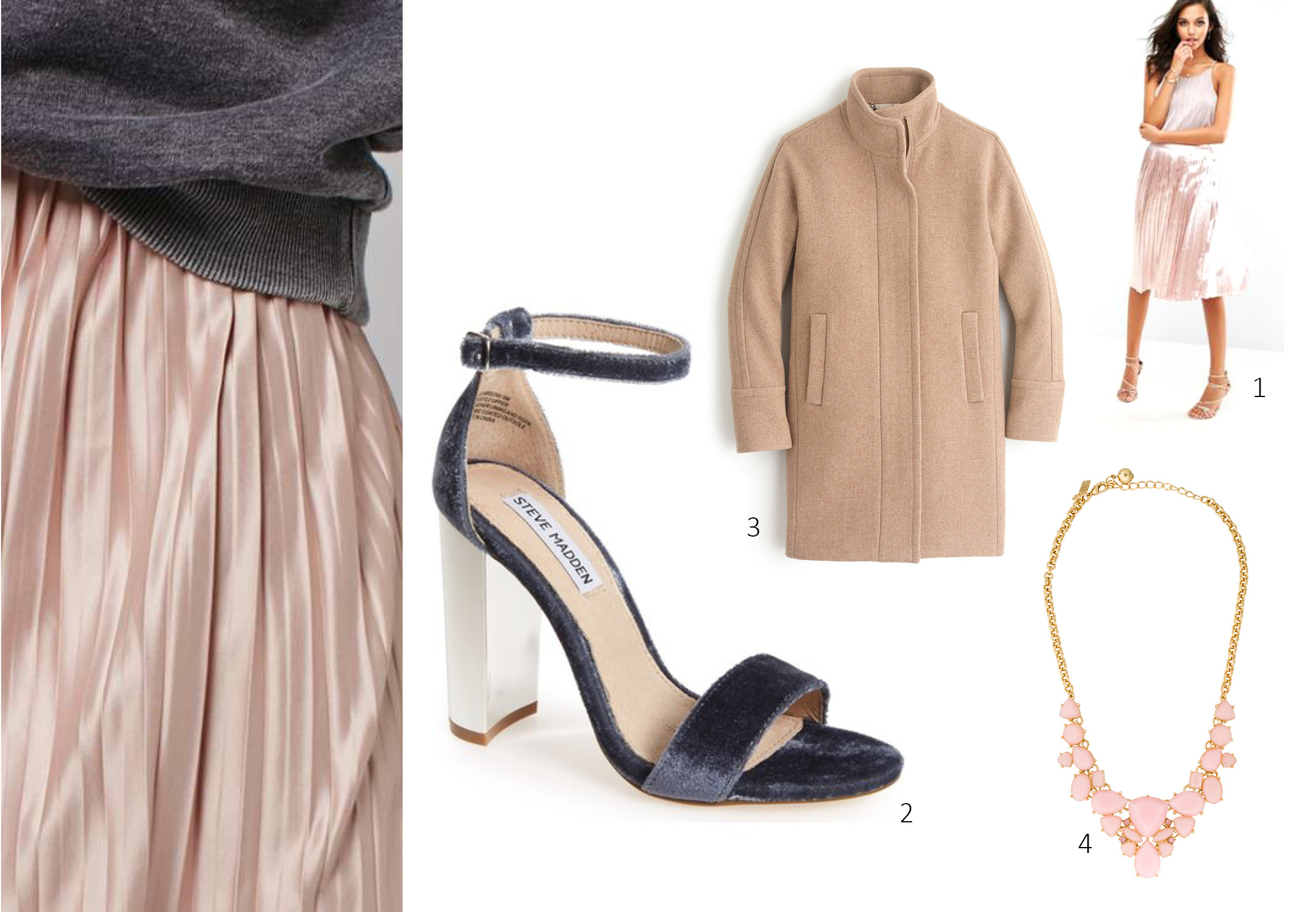 1. ASOS BooHoo Slinky Metallic Midi Skirt, $35; 2. Steve Madden, $99; 3. J Crew Stadium Cloth Cocoon Coat, $350; 4. Kate Spade $75