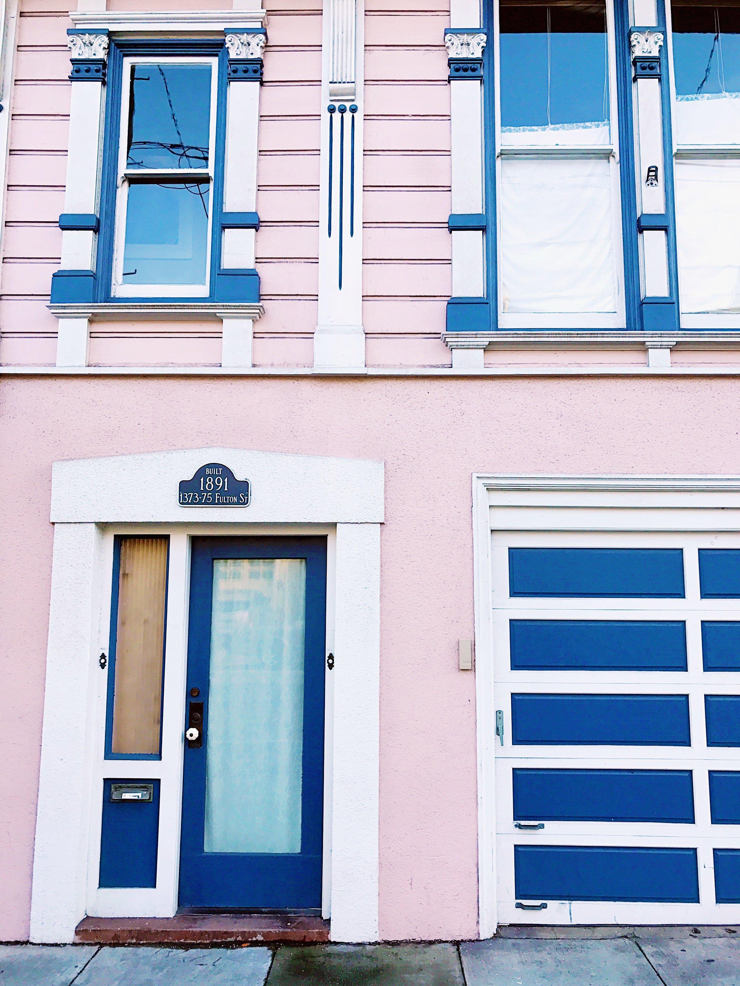 pink house blue trim san francisco