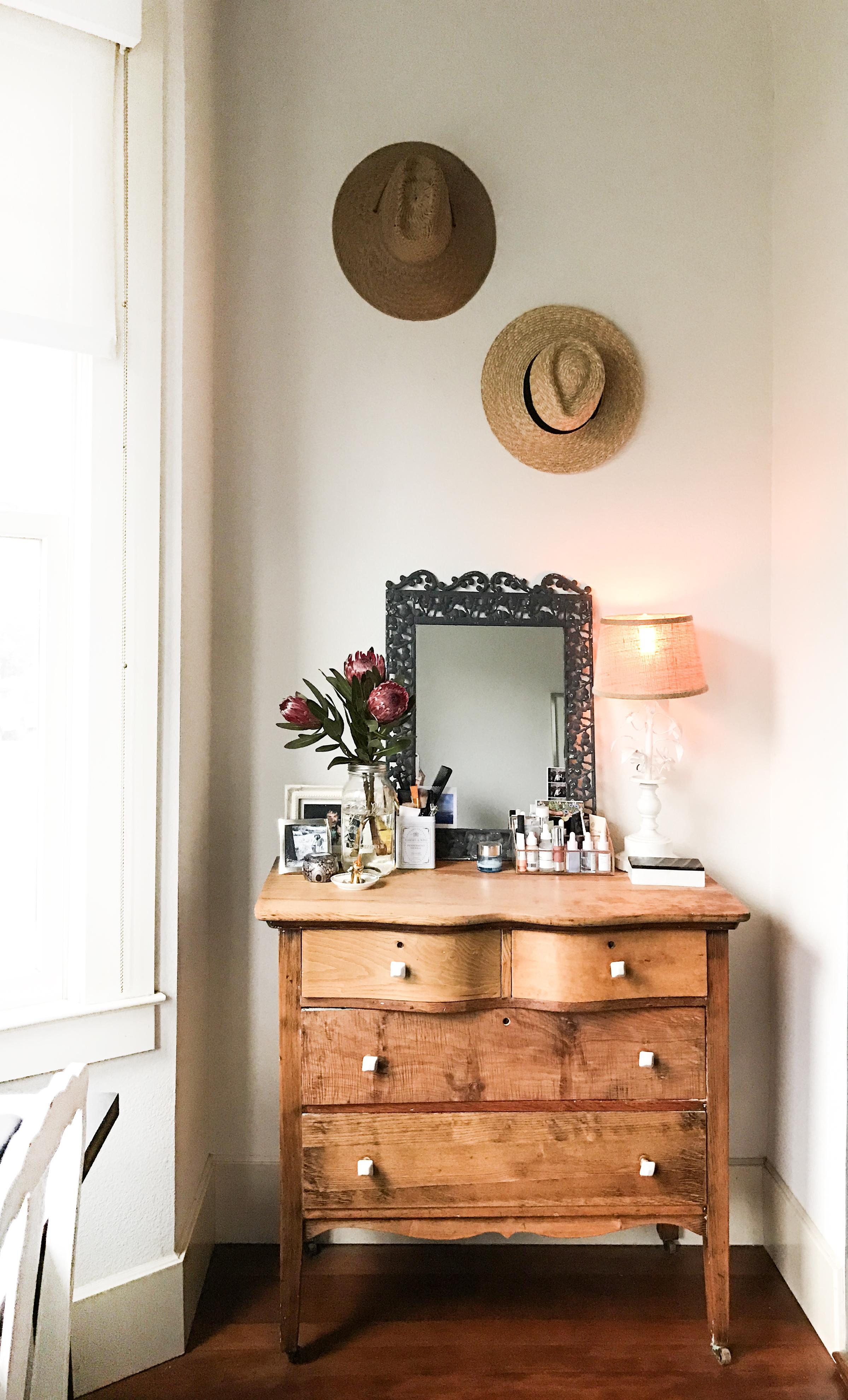 vintage dresser styling boho hat storage