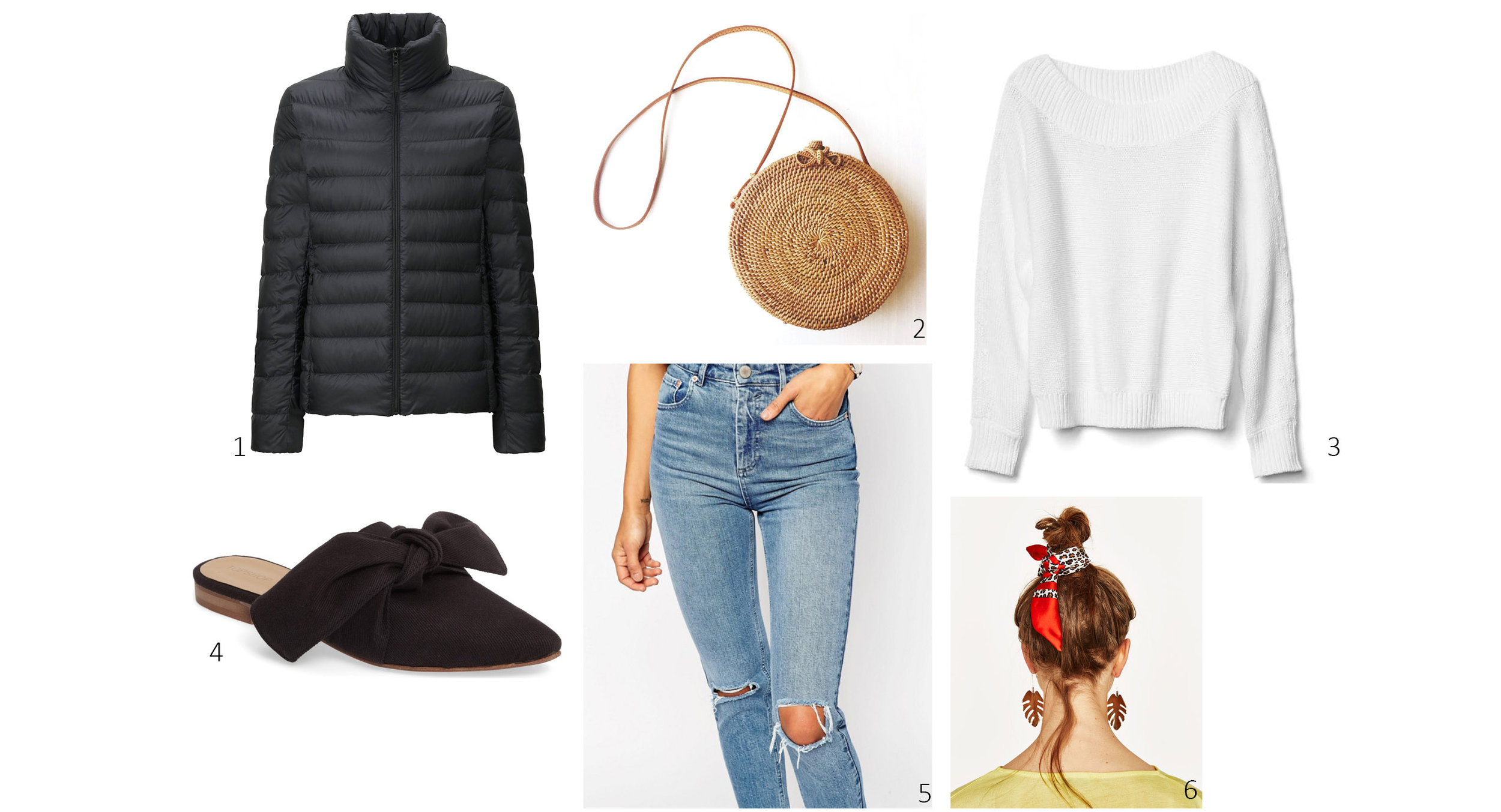 1.  Uniqlo Ultra Light Down Jacket $59; 2.  Bembien Rose Bag $185; 3.  Gap Relaxed Open-Neck Sweater  $29; 4.  Topshop Adele Bow Flat  $45; 5.  ASOS Farleigh Mom Jeans  $56; 6.  Zara Scarf Pack  $16
