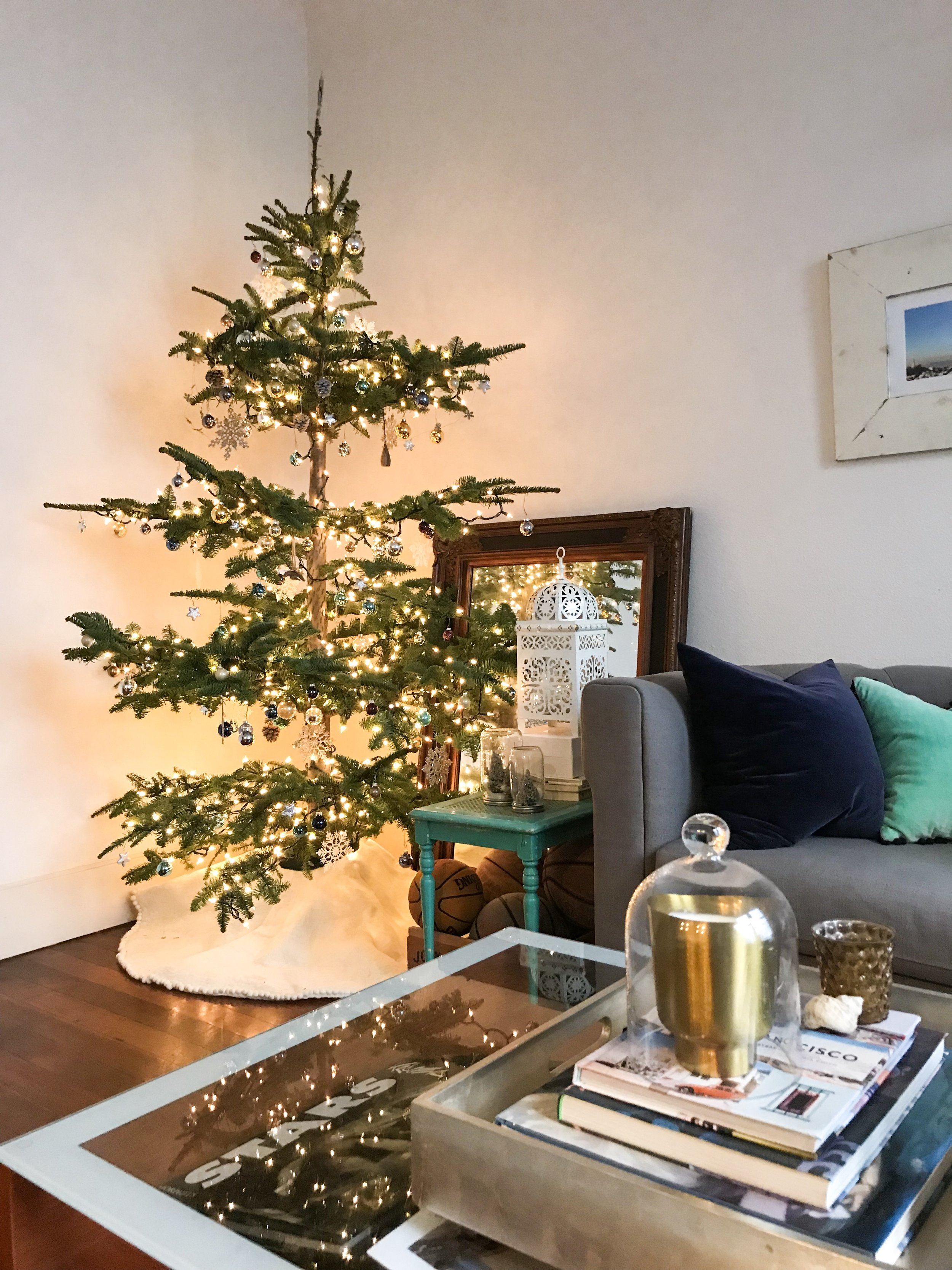 apartment christmas tree silver tipped modern vintage