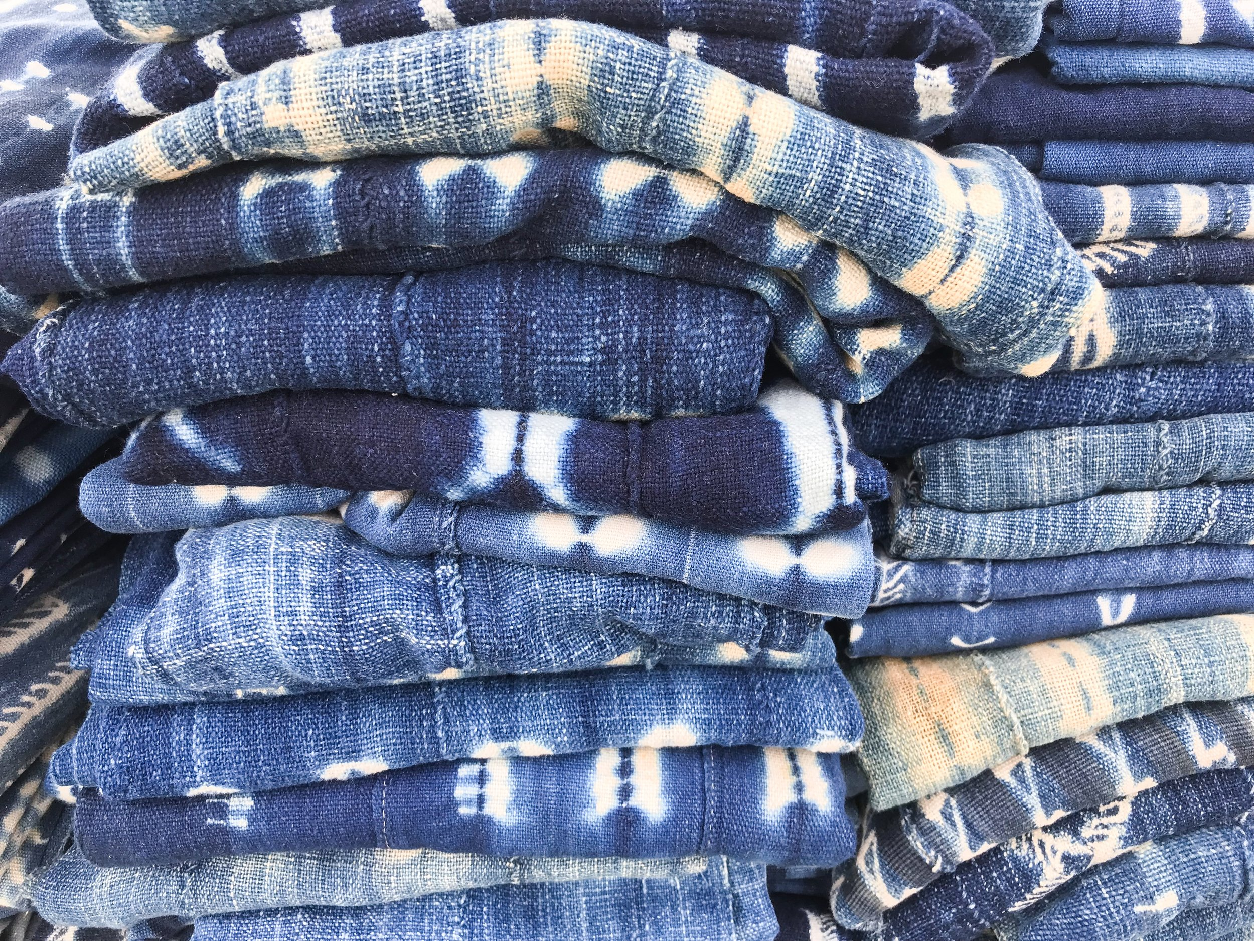 indigo textiles vintage flea market style inspiration