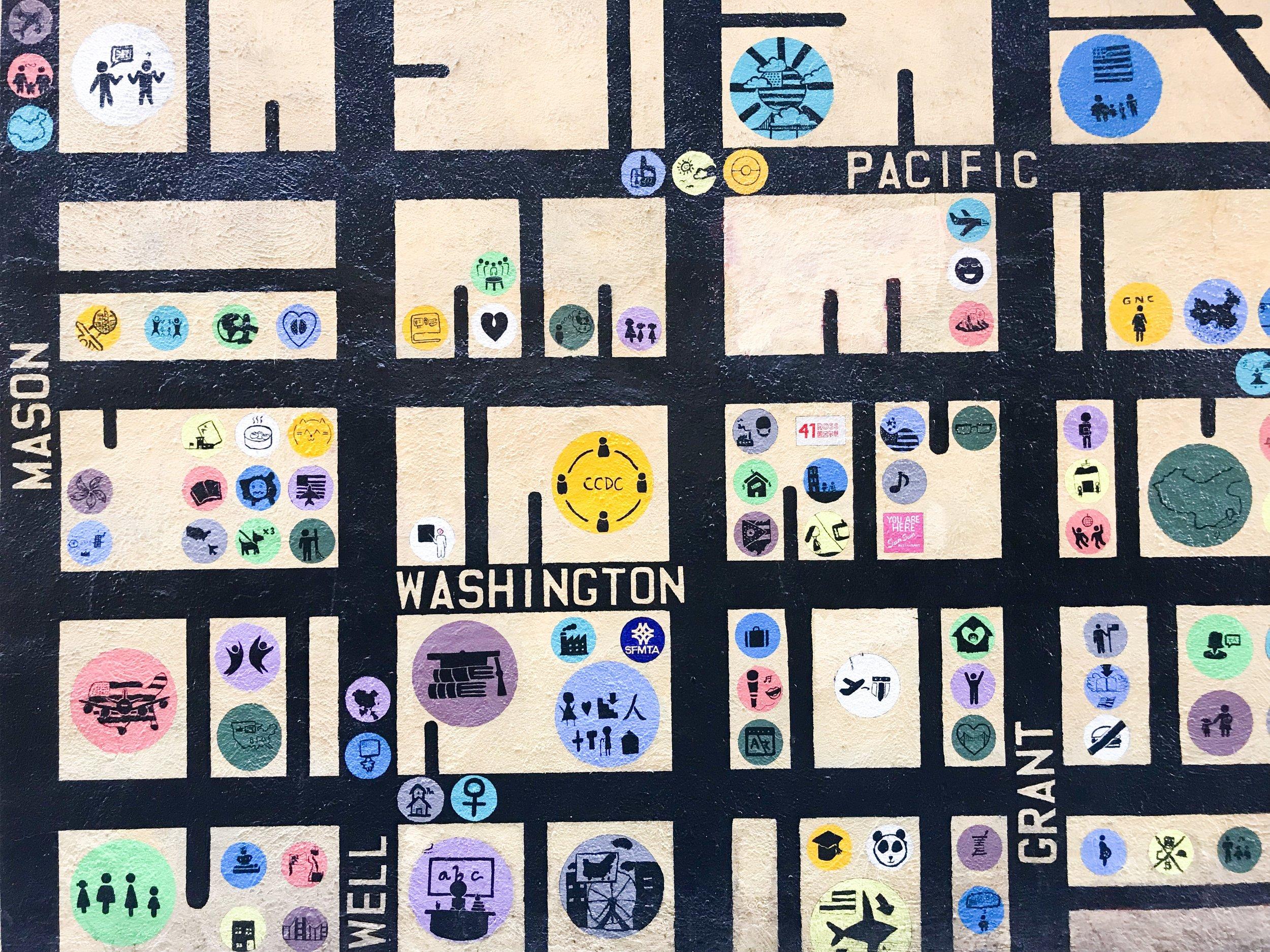 map of chinatown street art city exploration