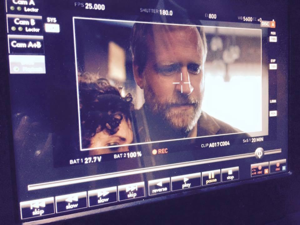From shooting: Zuzana Maurery (Miss Drazdechová, the teacher) with Peter Bebjak (Mr. Littman).