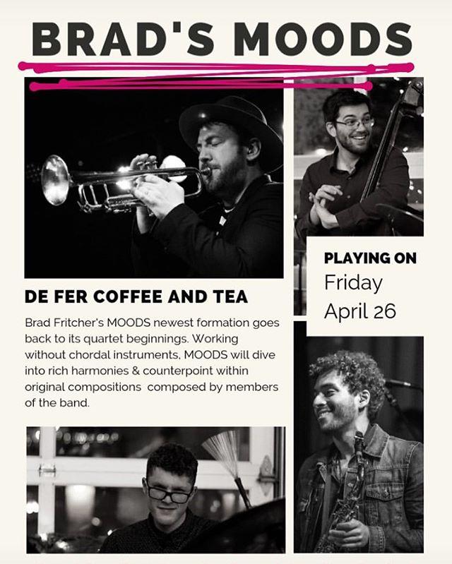Back at @defercoffeeandtea APRIL 26! #pgh #livejazz #coffee #cocktails #thestrip #stripatnight #bradmoods #friday #vibes #defercoffeeandtea