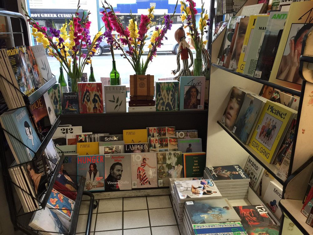 smoke signals - inexplicably cool art mag selection in this newsstand - fills part of the bodega-shaped hole in my heart. come here for scratch-offs and obscure magazines2223 polk st, russian hill