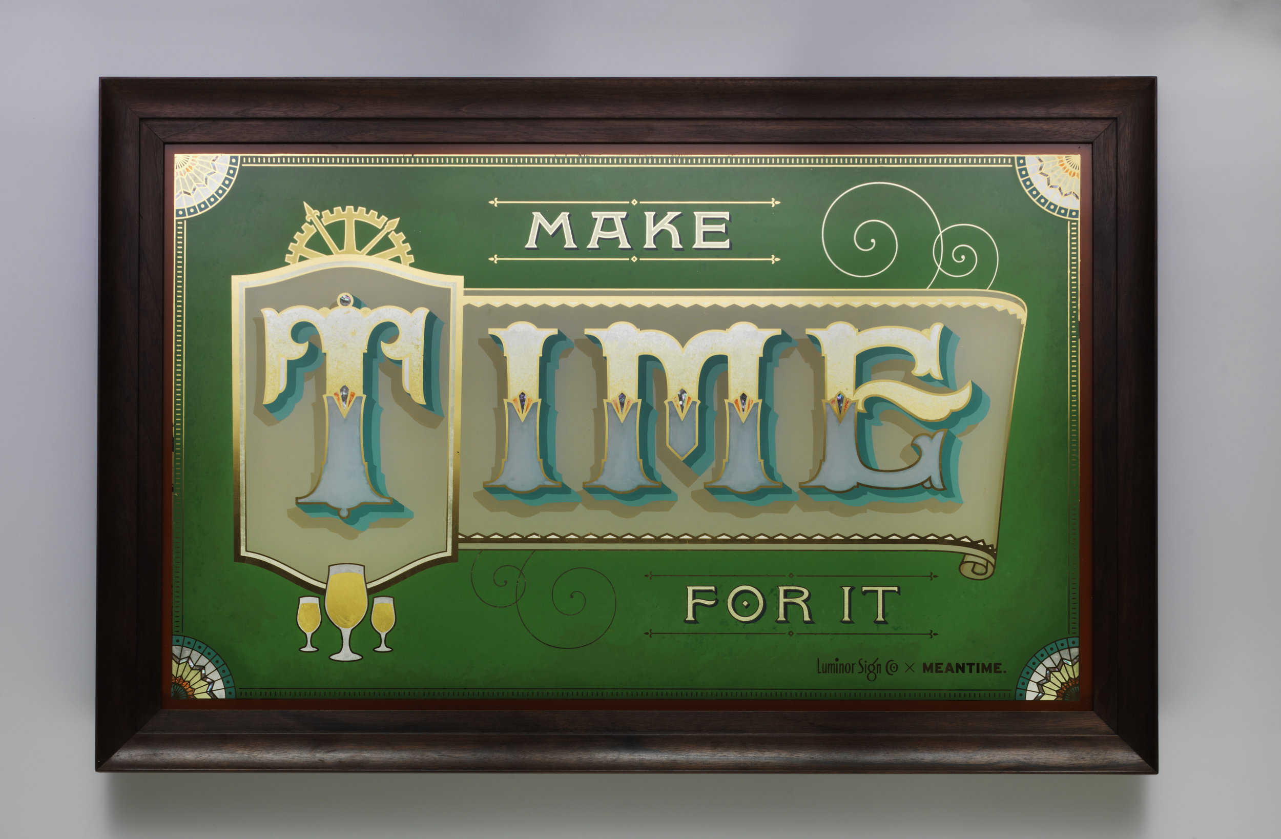 mirror meantime brewery make time for it gold leaf pearl inlay bespoke frame hand designed