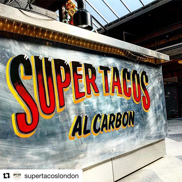 #Repost @supertacoslondon with @get_repost ✌️✌️✌️ ・・・ Hand painted logo by THE MAN @gedpalmer @theluminorsignco.