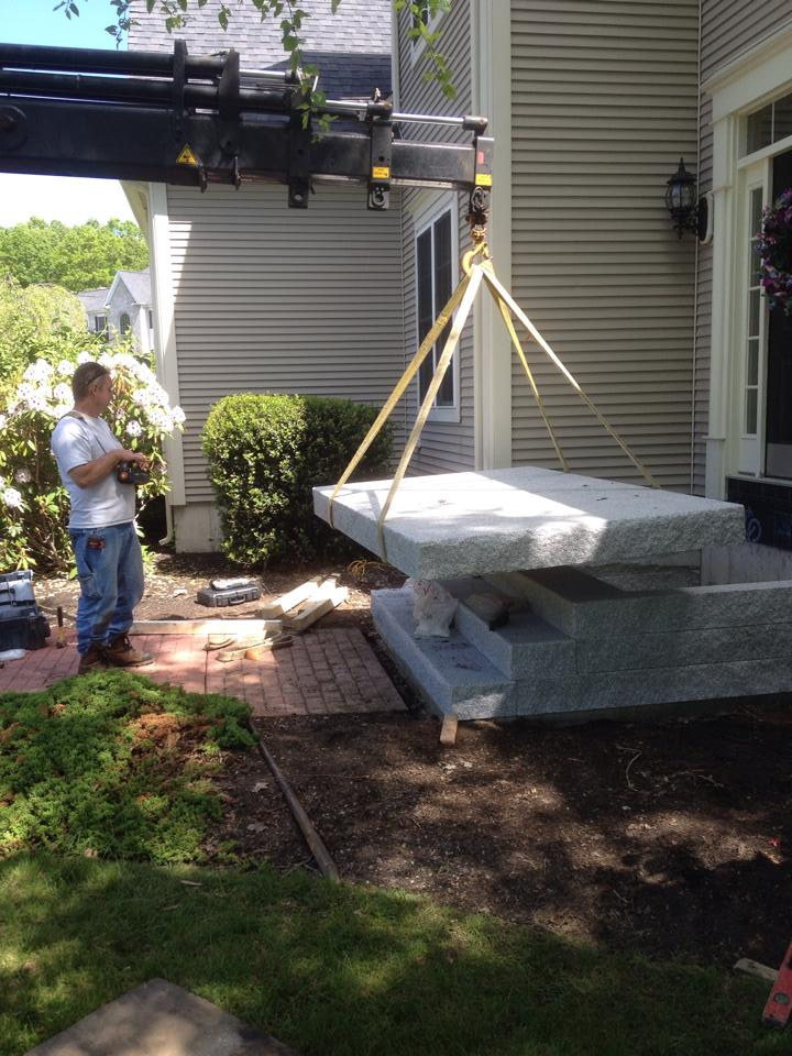 Granite steps during installation