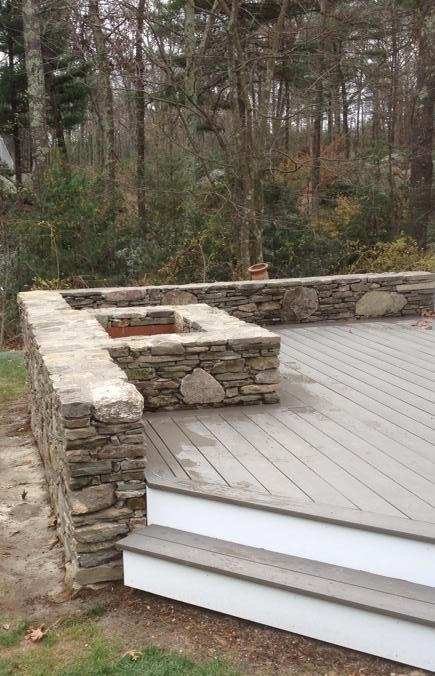 Fieldstone Firepit & Wall Constructed around existing porch