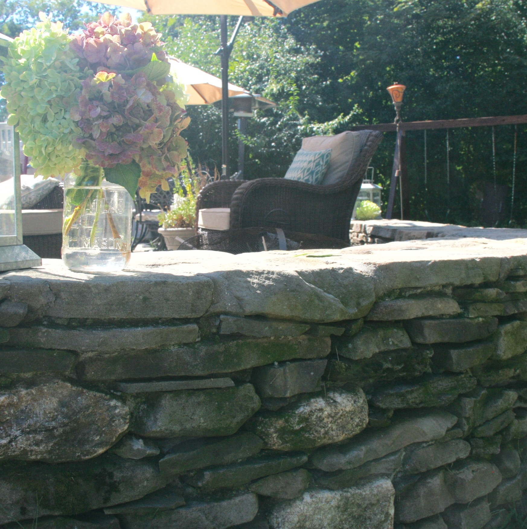 Fieldstone Wall shows natural patina