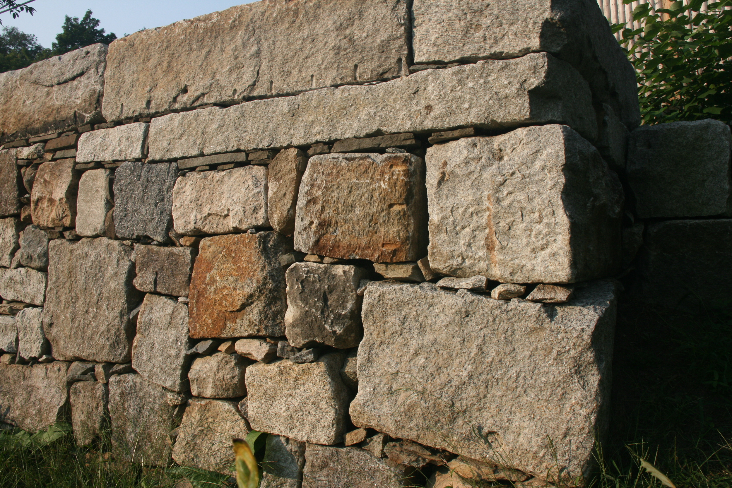 Sideview of Granite Retaining Wall