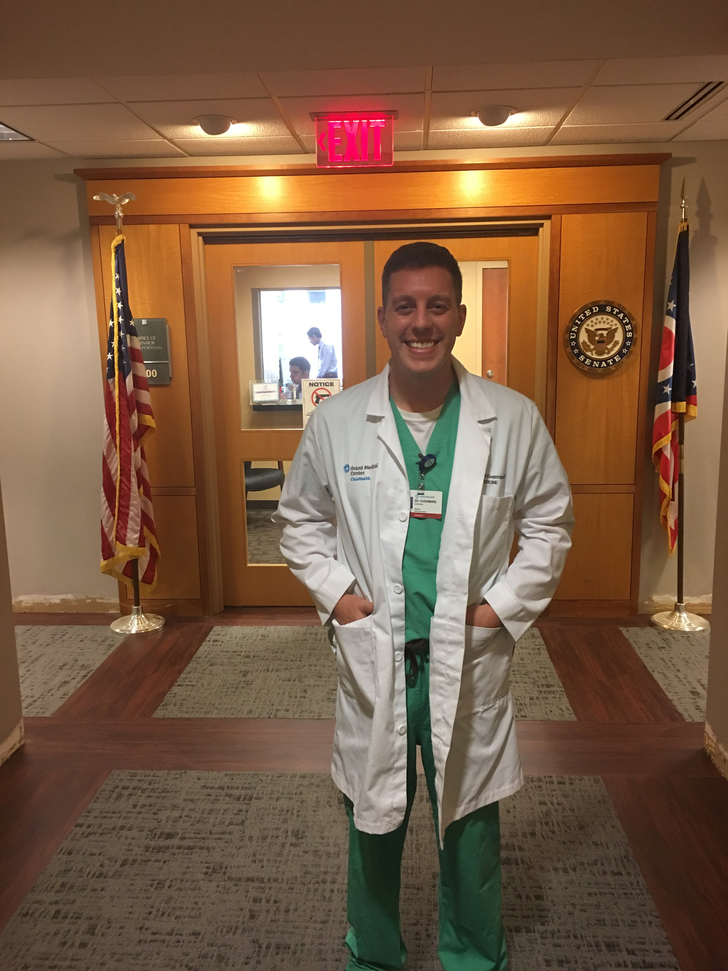 Dr. Nate Overmire (Class of 2019) advocating for patients at Senator Portman's office.
