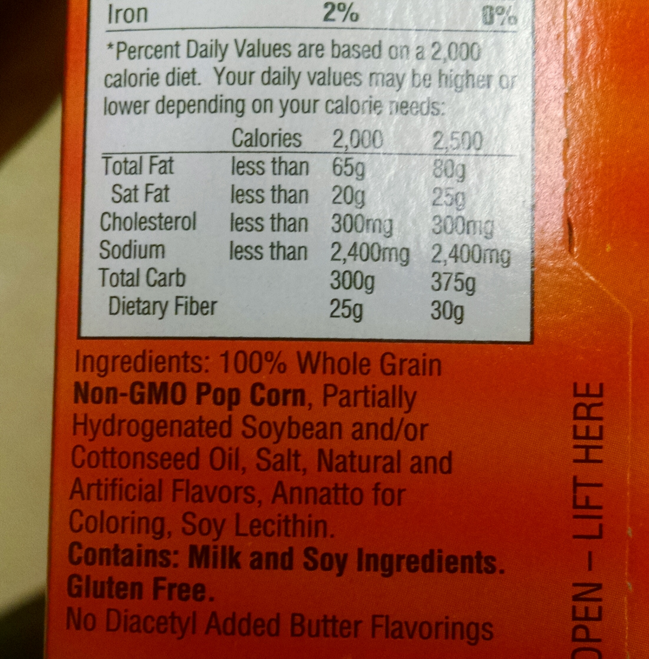 "This is a microwave popcorn. Notice that ""hydrogenated"" oil? Avoid any food with ""hydrogenated"" fats AND trans fats. Also notice again the ""natural and artificial flavors""... this is so non descriptive we don't know what could be hiding in that term."