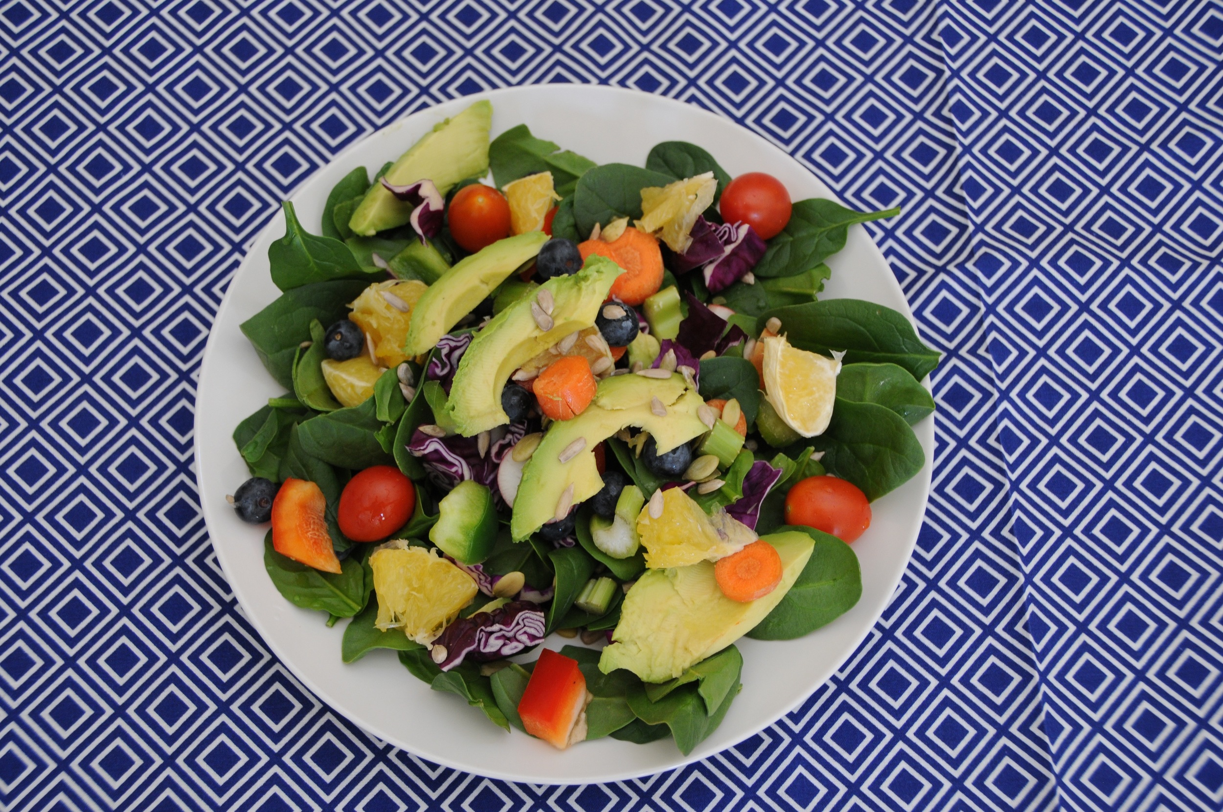 Another tasty lunch salad topped with some blueberries for a little sweetness