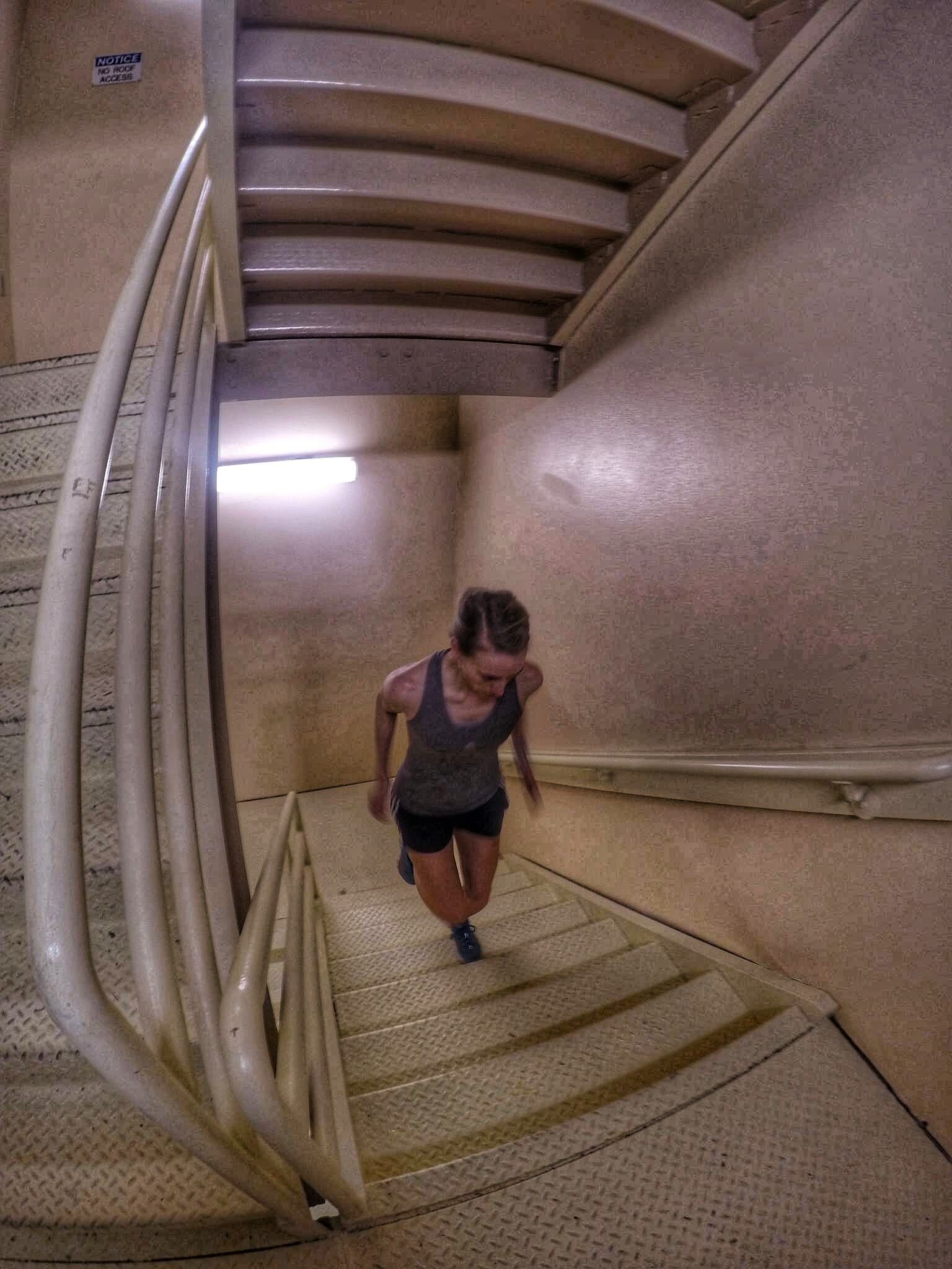 No gym in your hotel? Looking for a quick workout to get your heart pumping without paying a drop-in fee at a local gym? Use the stairwell to run stairs!!!
