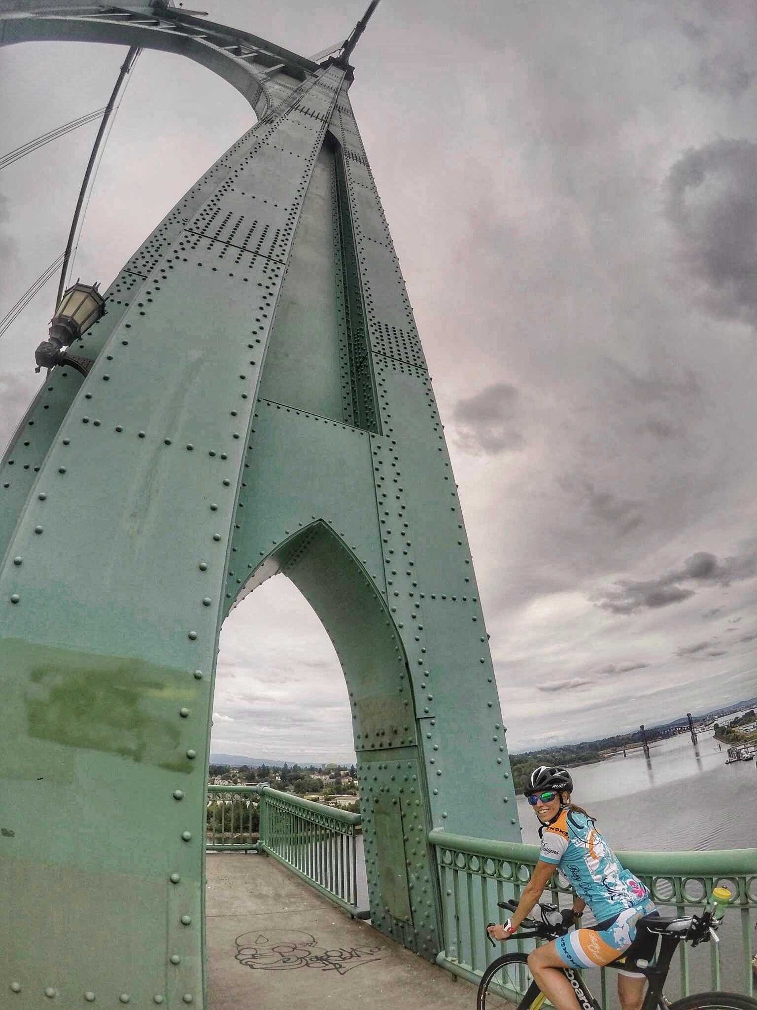 Crossing one of many bridges on our ride in Portland (St John's Bridge)