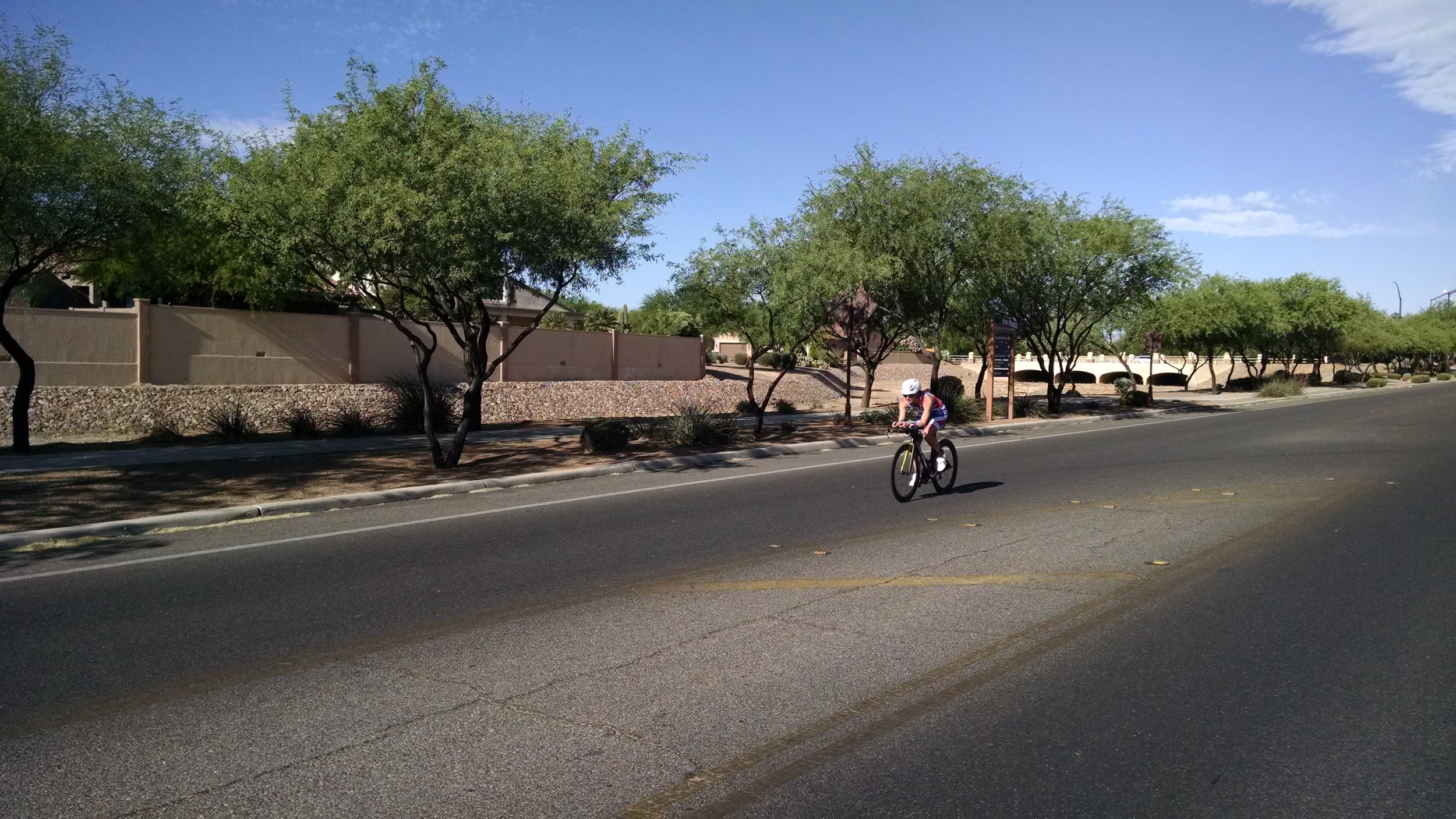 Coming in on the bike