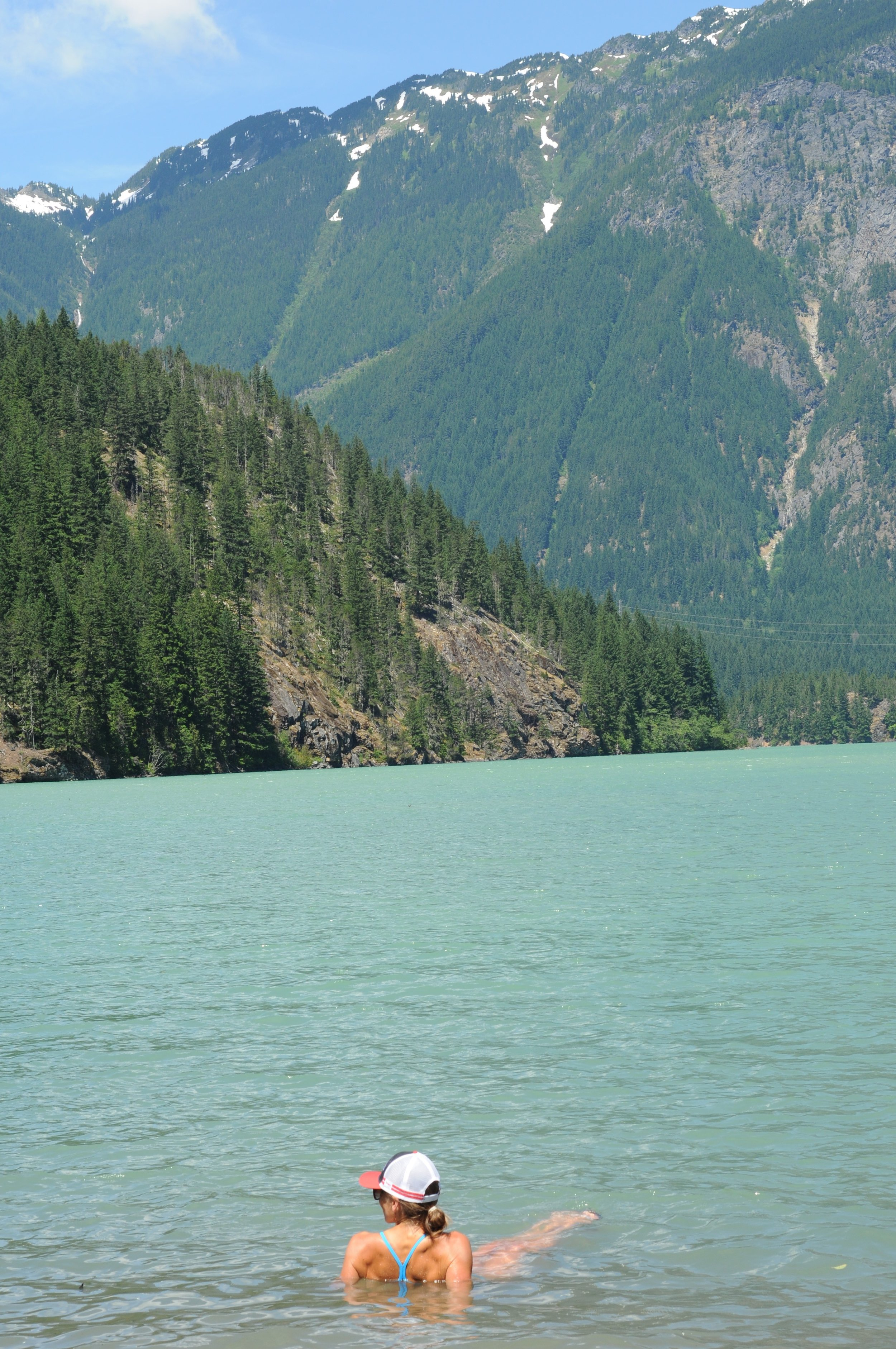 - Lakes make for GREAT showers and ice baths. Here I am in Diablo lake in North Cascades National Park in about 40 degree water trying to act