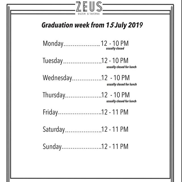 We are open 7 days this week from 12 till late for Graduation!!! Congrats to everyone graduating if you are not booked in pls call early as only a few tables left throughout the week! #ukc #graduation #champagne🍾 #zeuscanterbury
