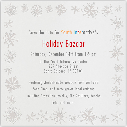 MARK YOUR CALENDARS! We are excited to announce our 2nd annual Holiday Artisan Bazaar will take place on Saturday, December 14th from 1-5pm! Stop by and check out some original art done by our students and other local artisans, sip on hot chocolate, and do a little holiday shopping while supporting our artistic youth. We can't wait to see you all!      #youthinteractive #santabarbara #holiday #artisan #bazaar #gifts #art #local #support #funkzone #winetasting