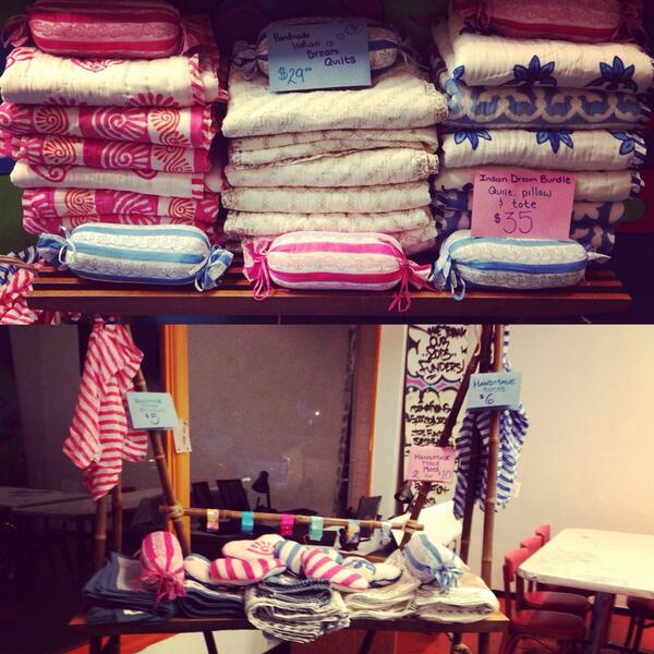 Now selling  homemade Indian dream blankets, throw pillows, place mats, and totes at the YI Shop   Get yours today!