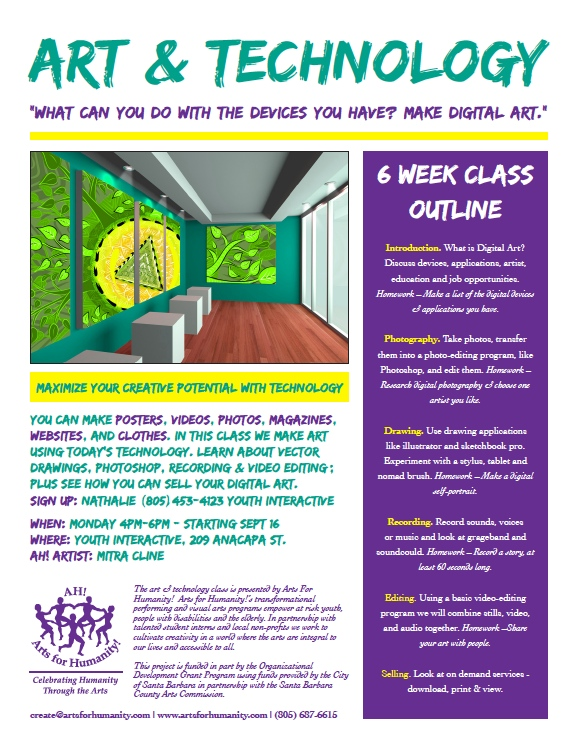 A taster of our exciting Fall Programming!   What a great collaboration between Art for Humanity and Youth Interactive!