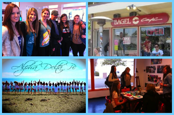 UCSB's ADPi were named the winners of the Sorority Bagel Competition, put on by Wes Henley and his Bagel Cafe. Why is this great news for Youth Interactive, an organization all the way on the other side of town? Because Youth Interactive is the chosen charity of the year, and will receive $500 worth of prizes AND will get a percentage of all bagels sold at the Bagel Cafe tomorrow, TUESDAY! A big thank you to Wes and the girls, welcome to the Youth Interactive family!     NOW GO BUY BAGELS, EVERYONE!!