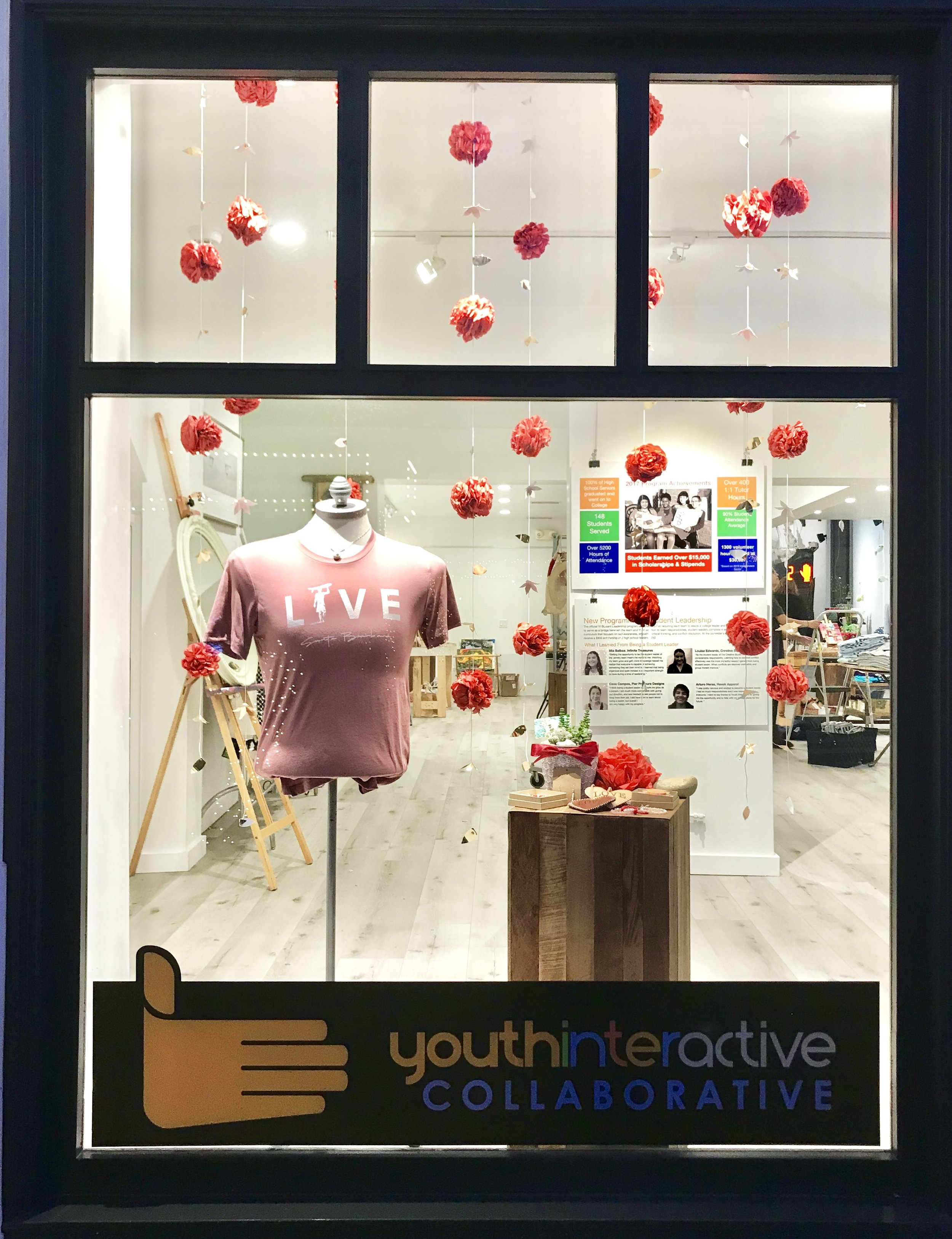 Infinite Treasures' window display for the month of February