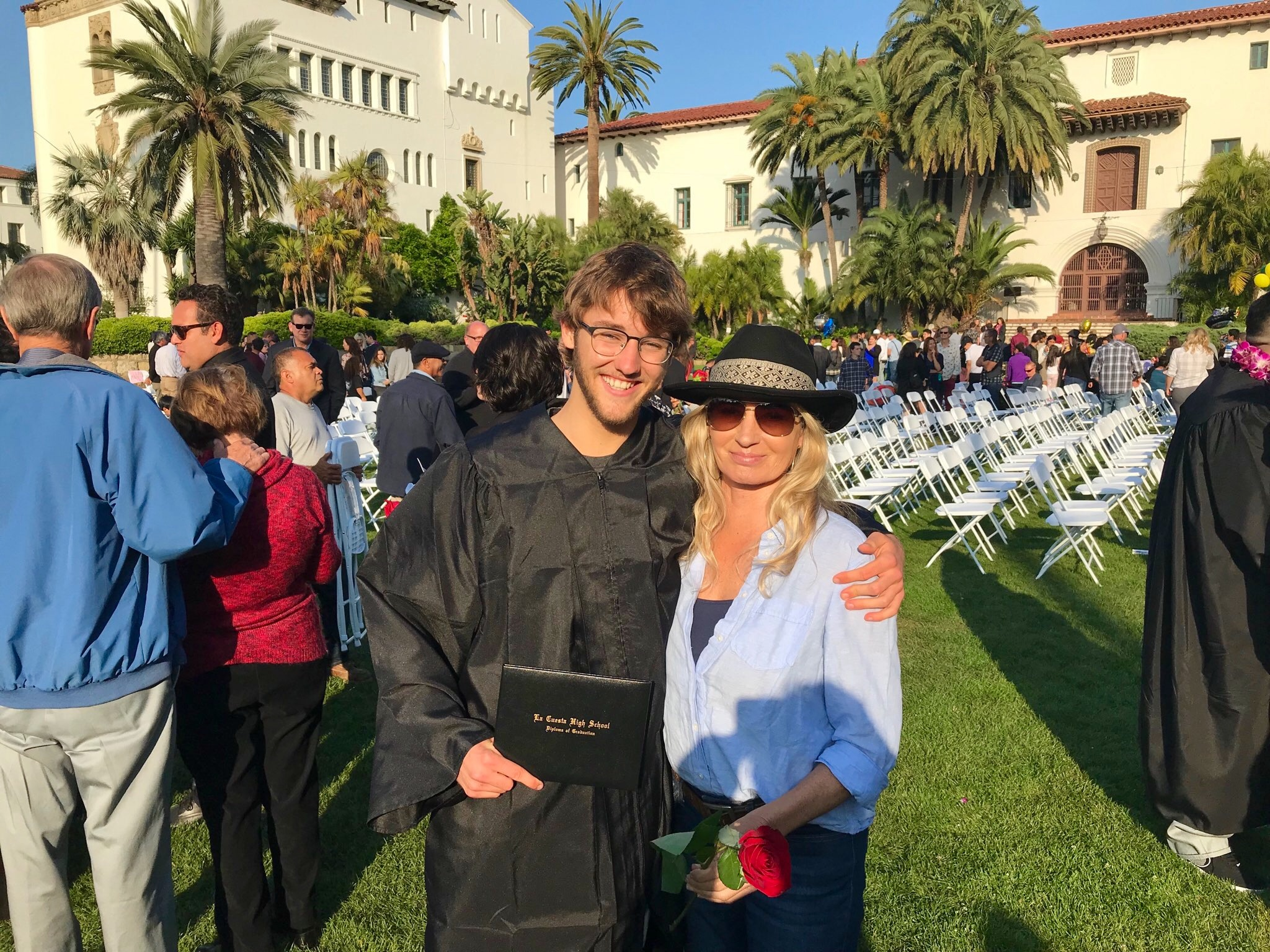 Jack Miles, and his mom, Colleen, pose for a photo after Jack received his high school diploma from La Cuesta Continuation High School last week.