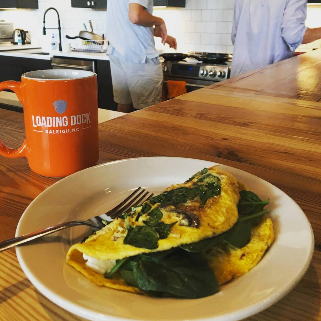 First Friday Omelettes are a huge hit at Loading Dock Raleigh. A time to gather in the kitchen, share stories and create egg-cellent masterpieces -
