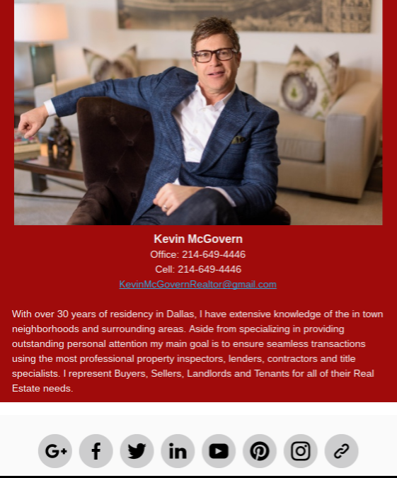 About Me section with image of Kevin McGovern and links to website and social media