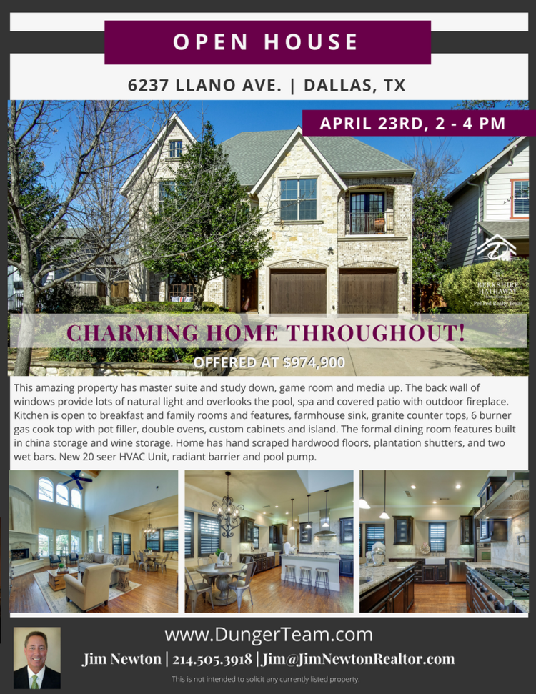 Example of an Open House flyer